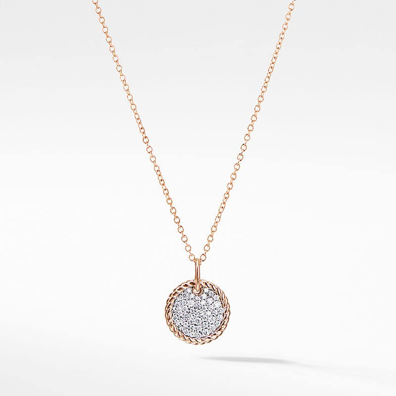 Petite Pave Necklace with Diamonds in 18K Rose Gold