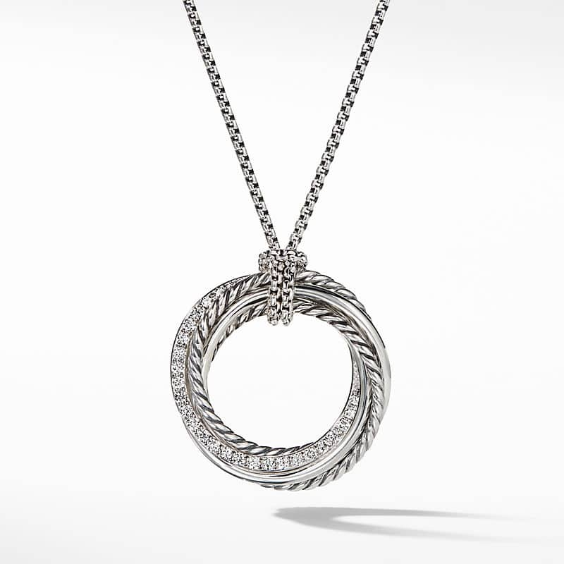 Crossover Pendant Slider Necklace with Diamonds