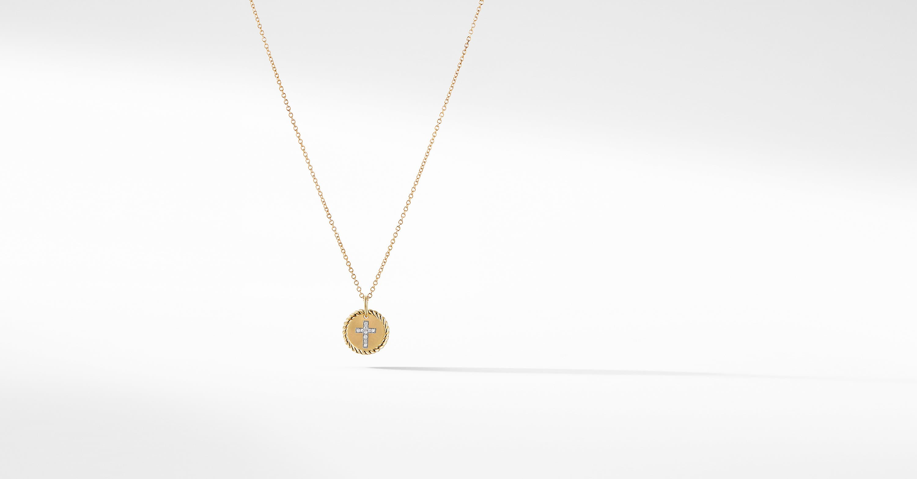 Cable Collectible Cross Necklace with Diamonds in 18K Gold