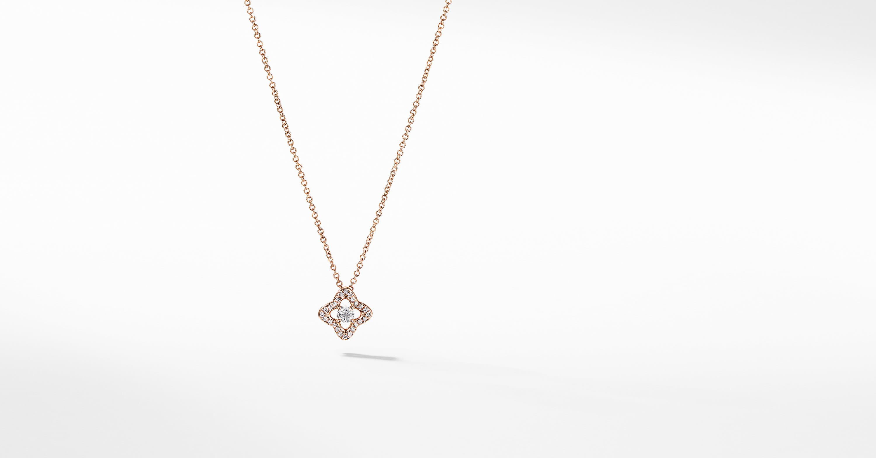 Collier Venetian Quatrefoil en diamants et or rose 18 carats