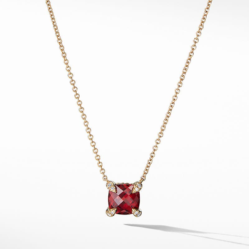 Chatelaine Pendant Necklace with Diamonds in 18K Gold, 7mm