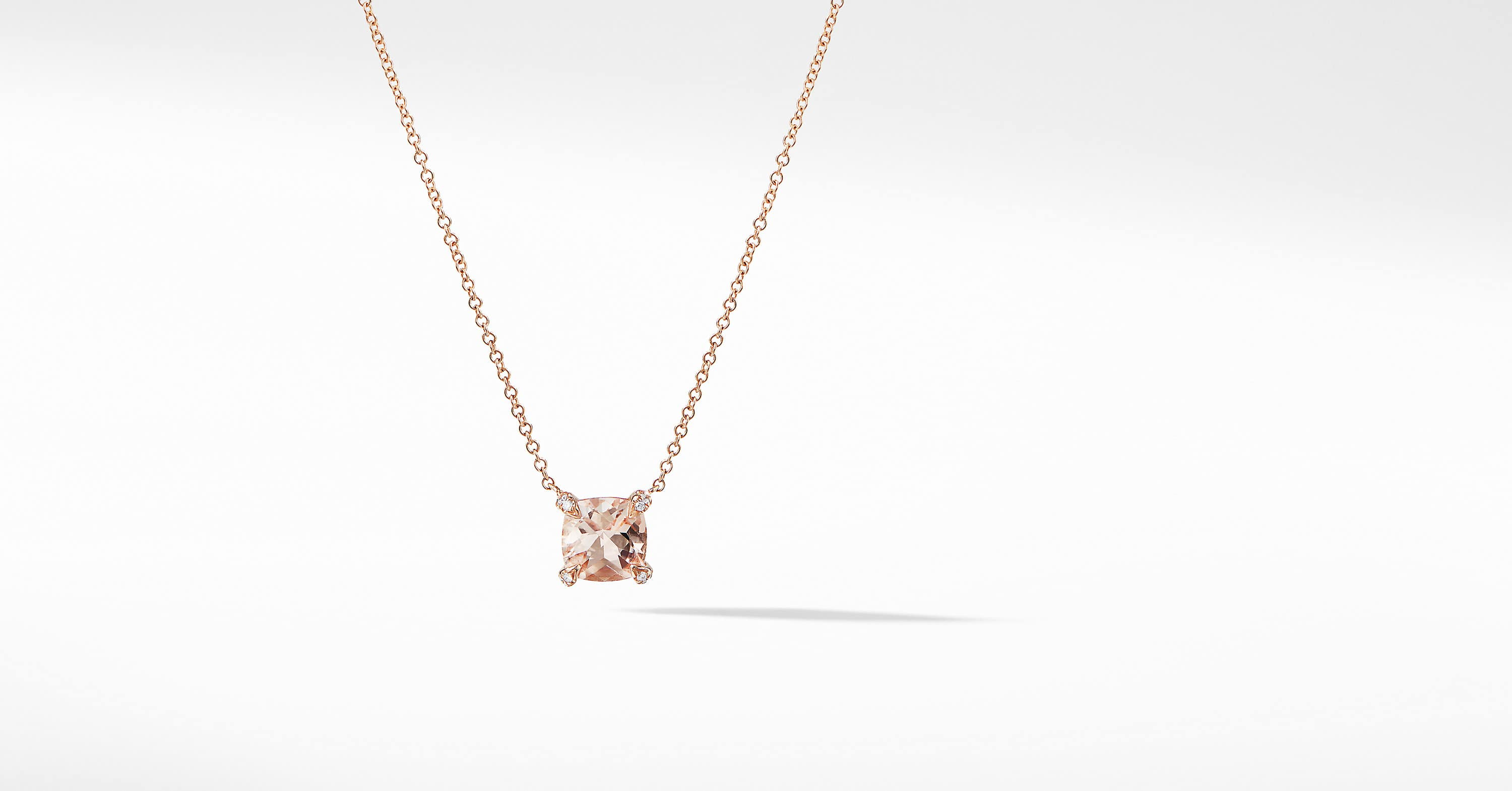 Chatelaine Pendant Necklace with Diamonds in 18K Rose Gold, 7mm