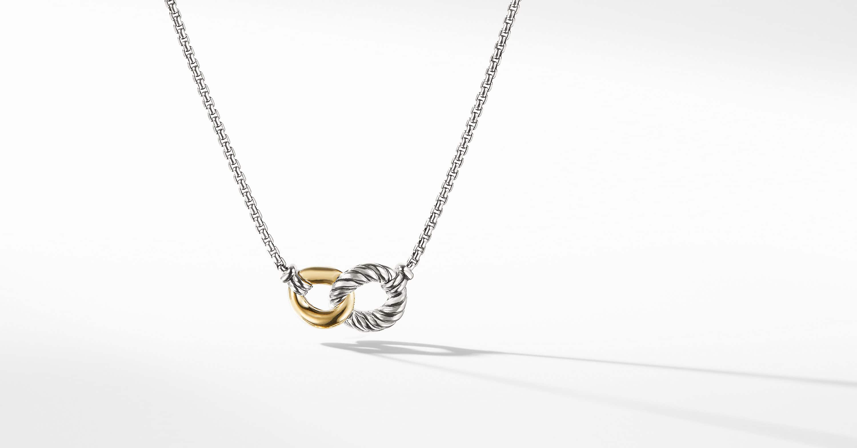 Belmont Double Curb Link Necklace with 18K Gold