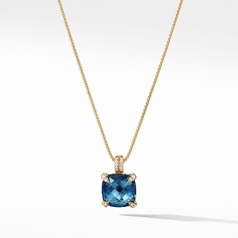 Chatelaine Pendant Necklace with Diamonds in 18K Gold, 11mm
