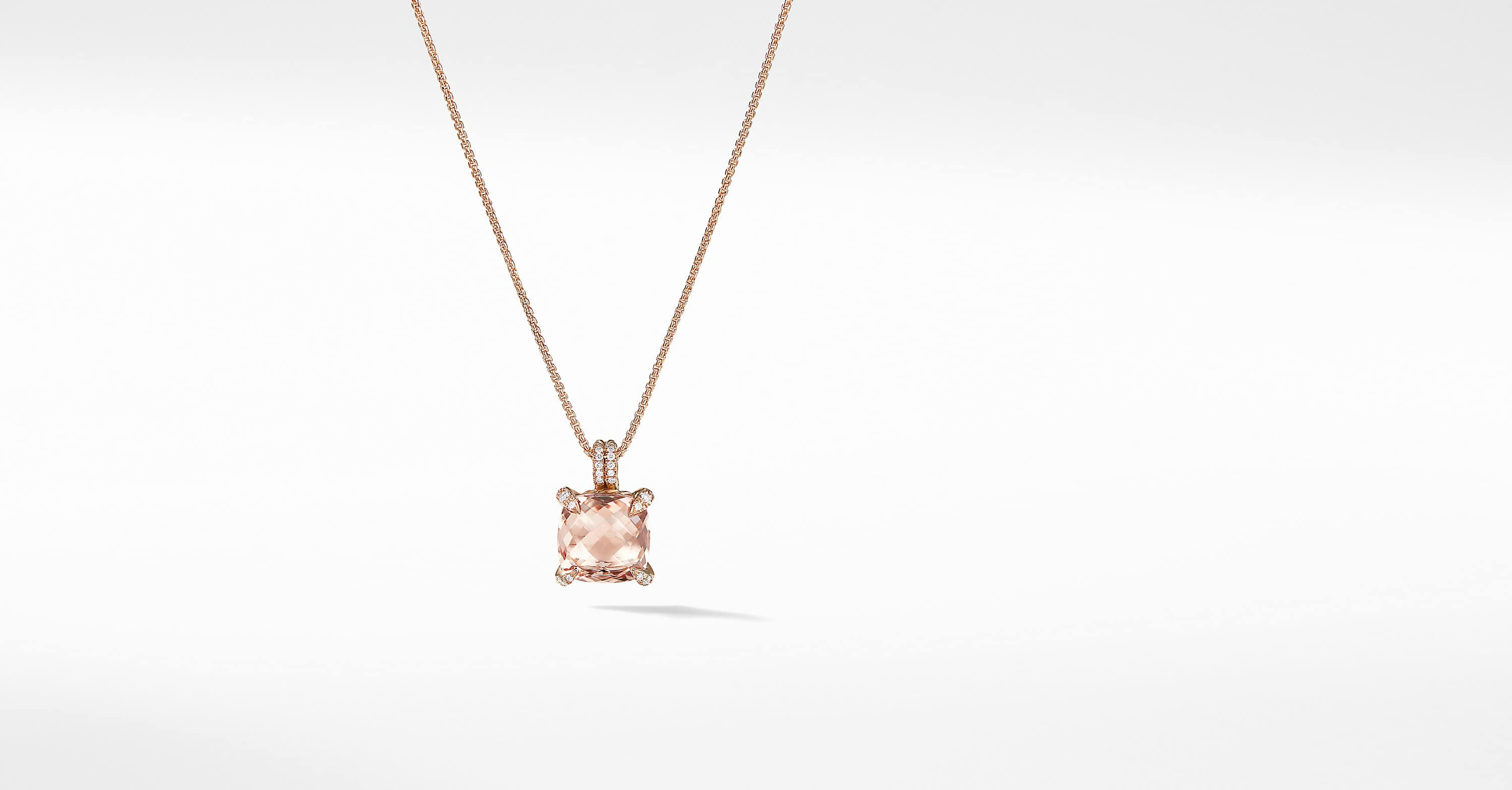Chatelaine Pendant Necklace with Diamonds in 18K Rose Gold, 11mm