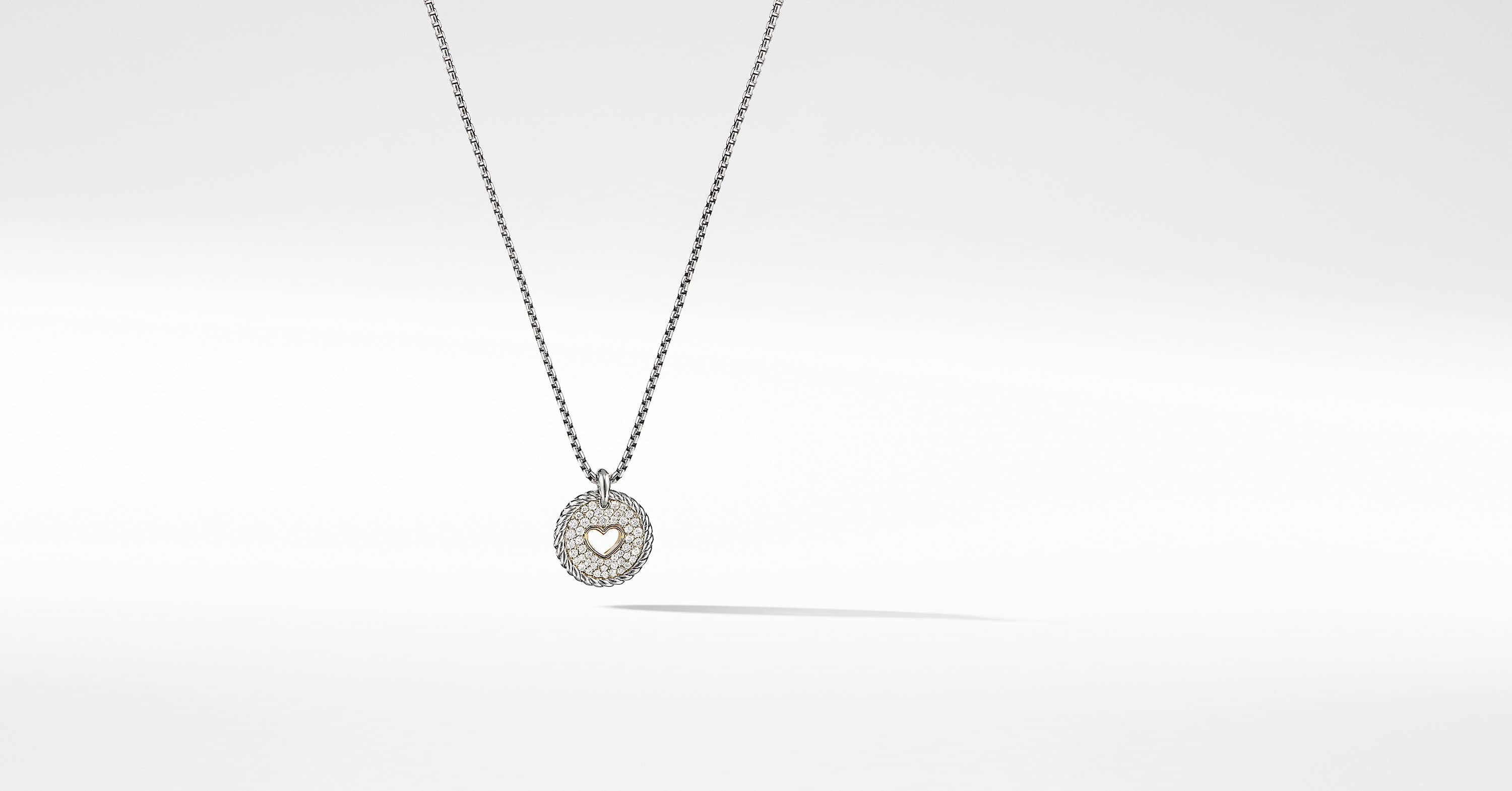 Petite Pave Heart Charm Necklace with Diamonds with 18K Gold