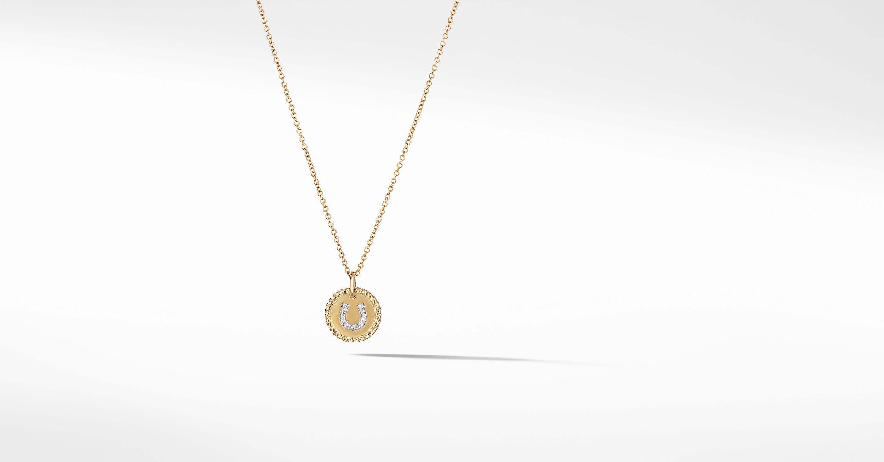 Petite Pave Horseshoe Necklace with Diamonds in 18K Gold
