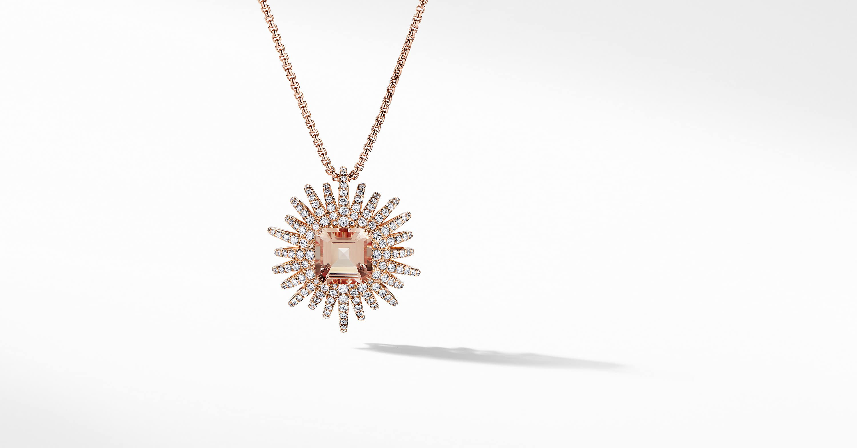 Starburst Pendant Necklace with Diamonds in 18K Rose Gold, 30mm