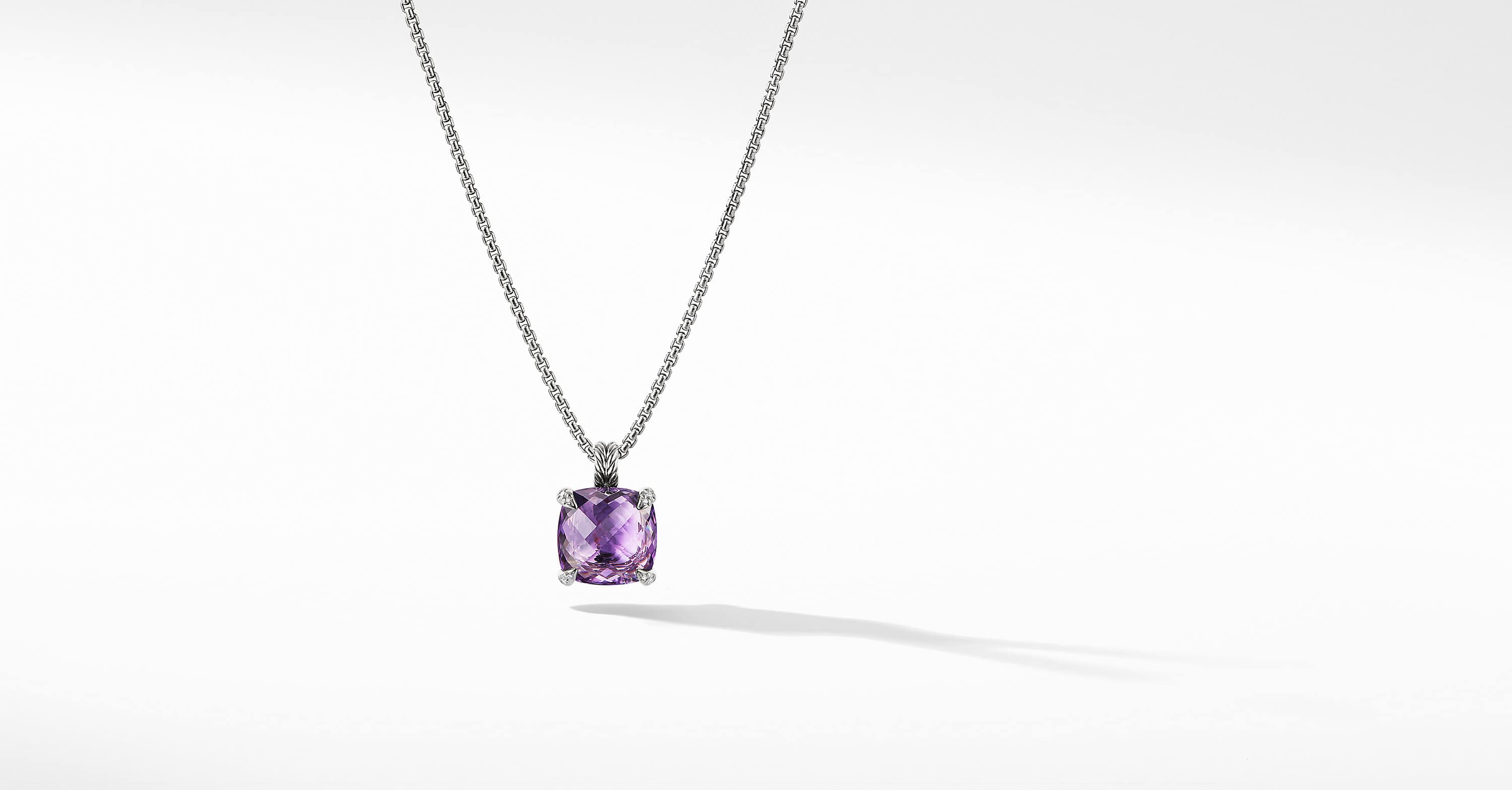 Chatelaine Pendant Necklace with Diamonds, 14mm