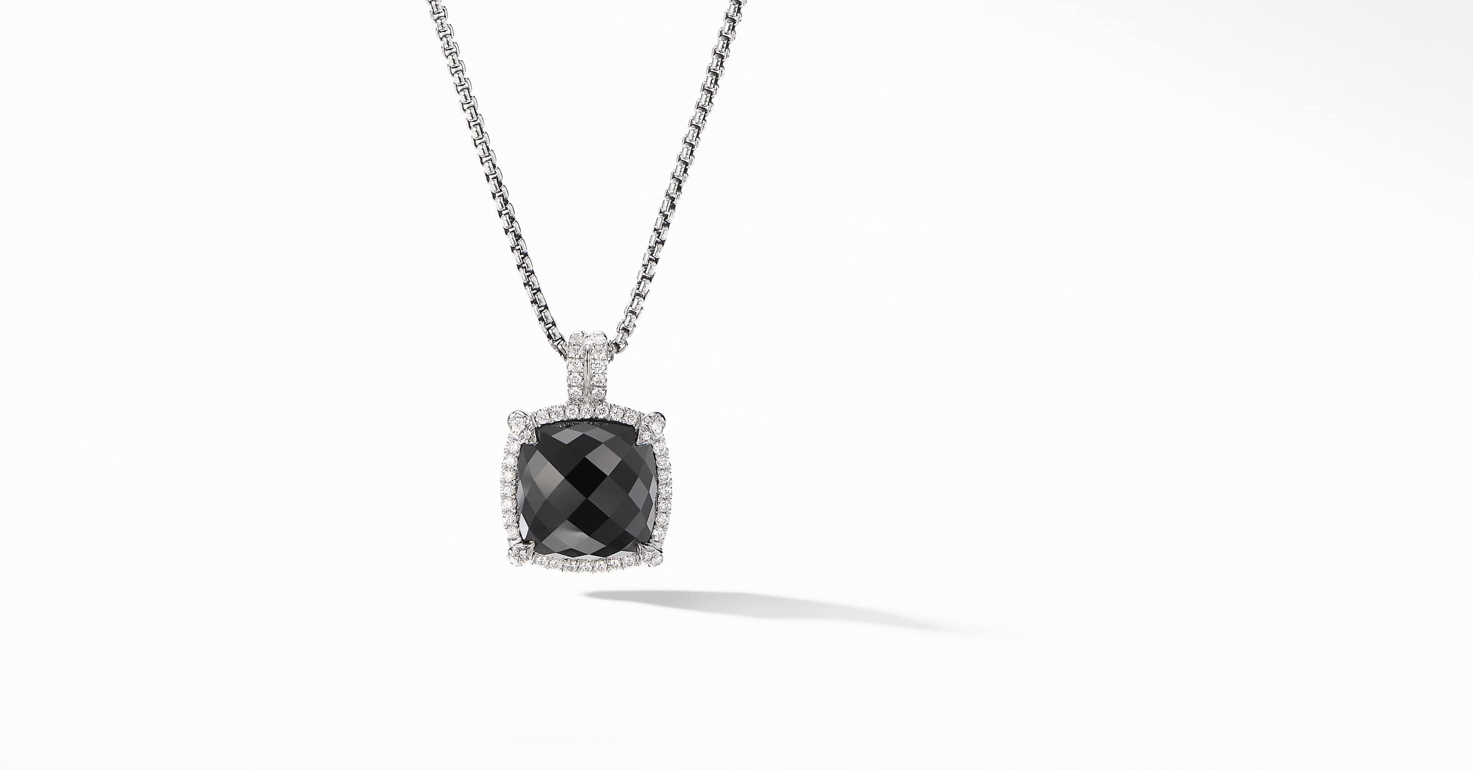 Chatelaine Pavé Bezel Pendant Necklace, 14mm