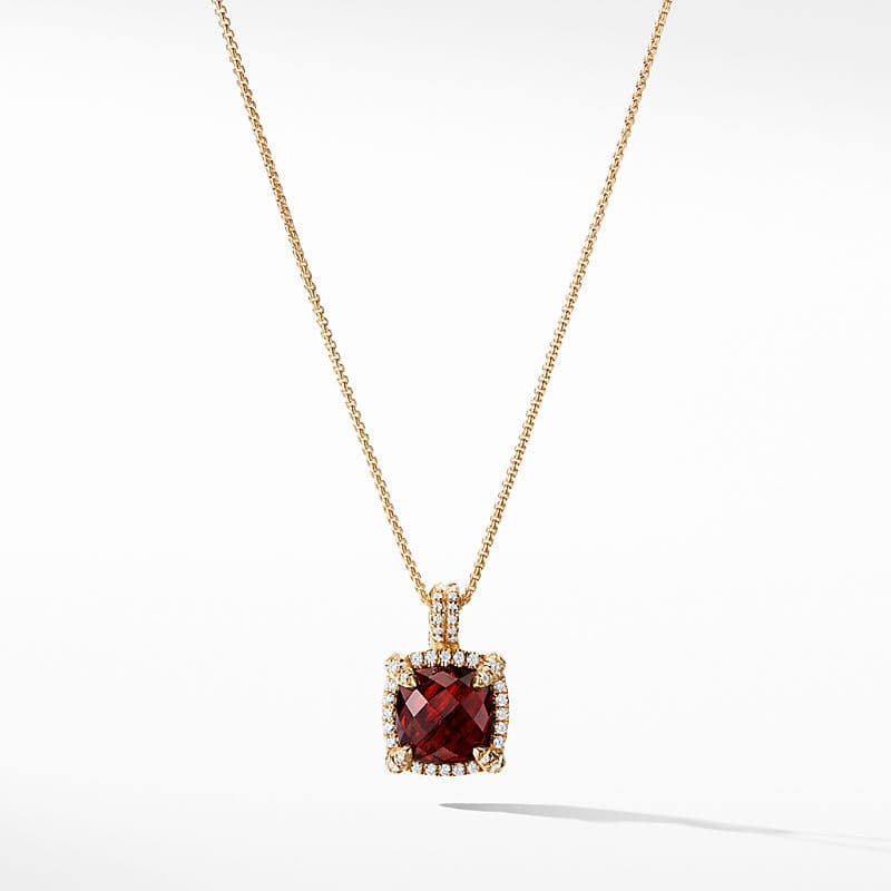 Chatelaine Pave Bezel Pendant Necklace with Diamonds in 18K Gold, 9mm