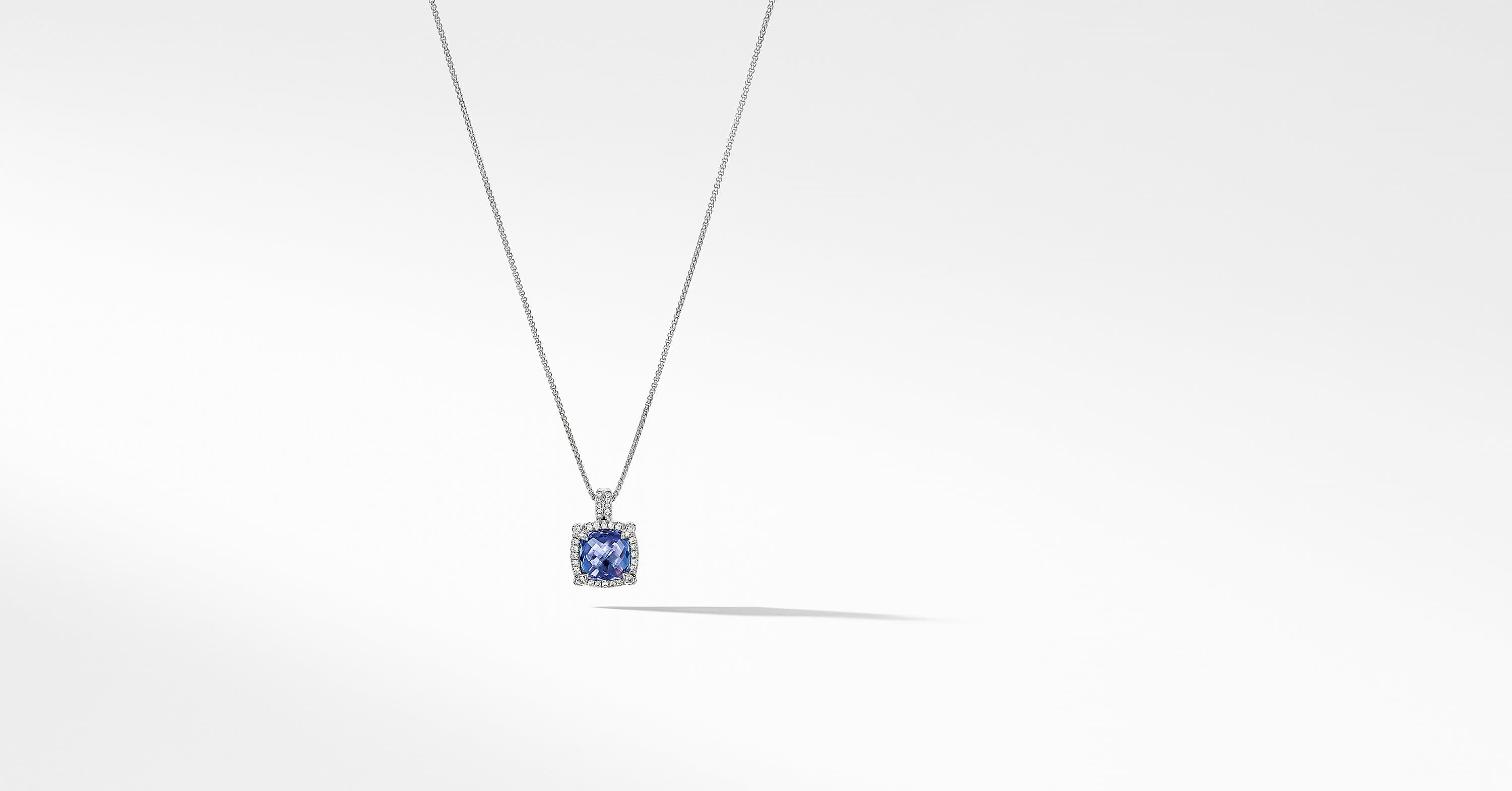 Châtelaine Pave Bezel Pendant Necklace with Diamonds in 18K White Gold