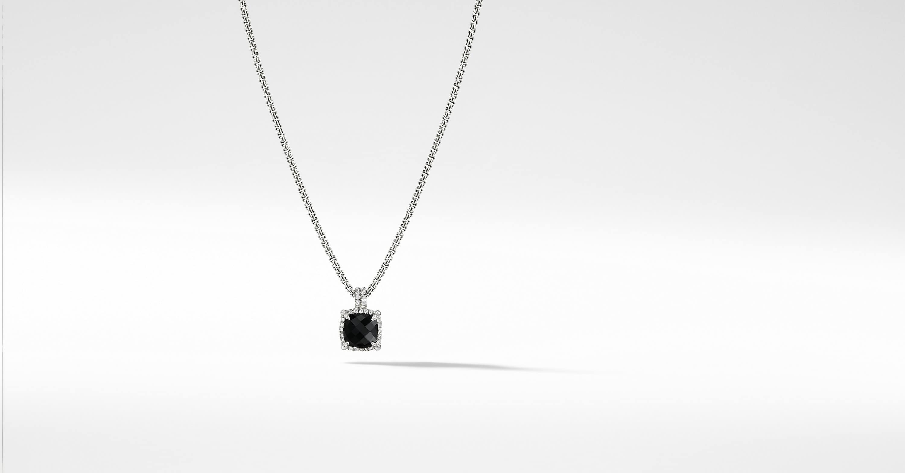 Chatelaine Pave Bezel Pendant Necklace with Diamonds, 9mm