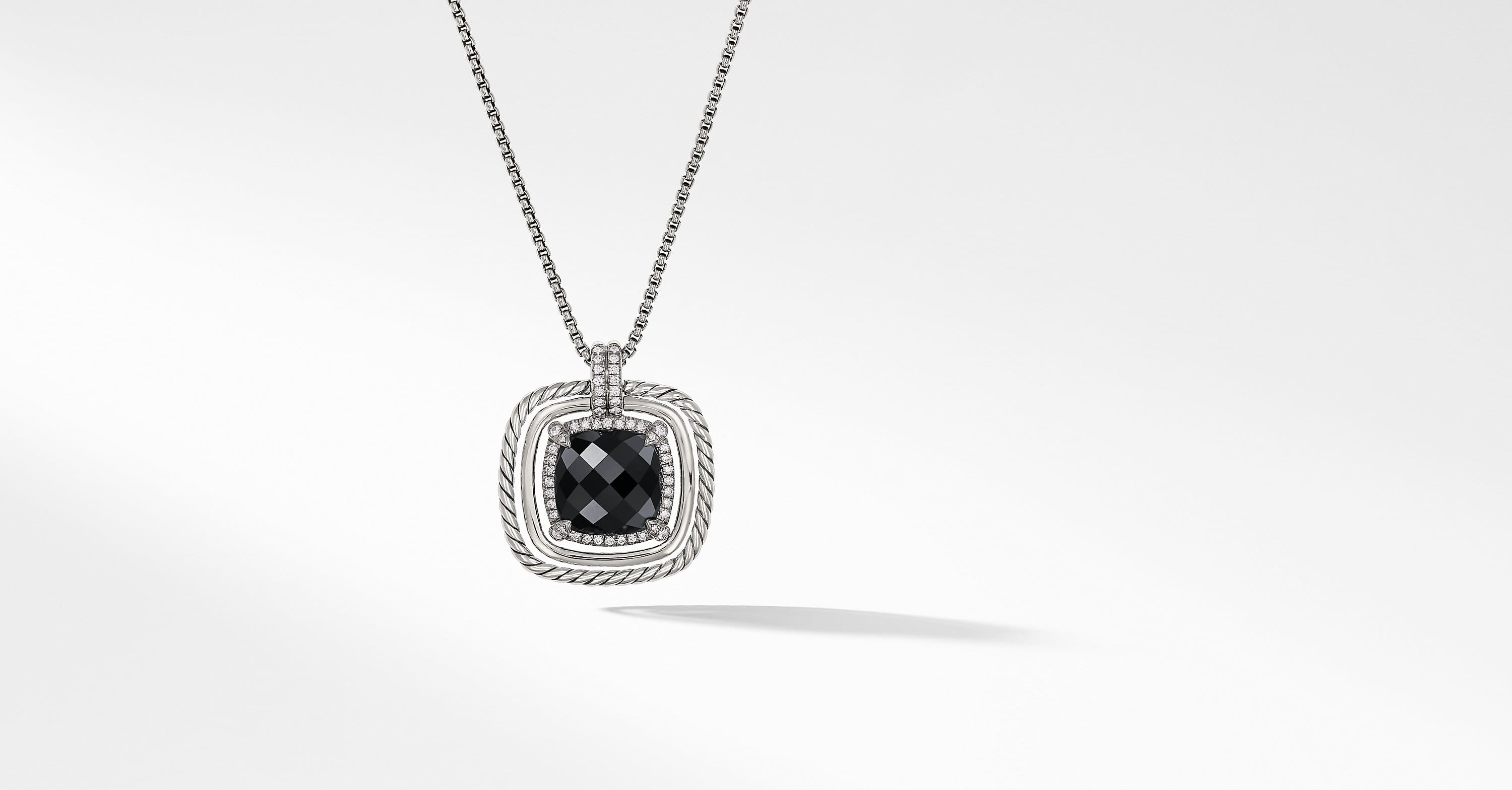 Chatelaine Pave Bezel Pendant Necklace with Diamonds, 24mm
