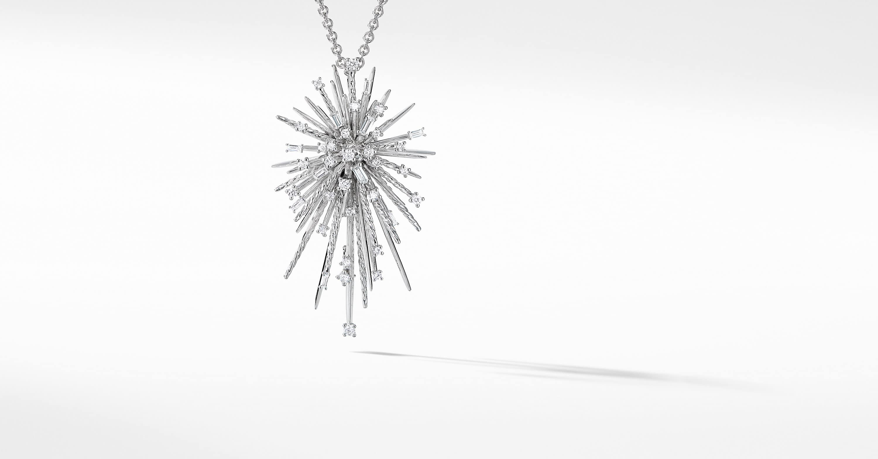 Supernova Pendant Necklace in 18K White Gold with Diamonds