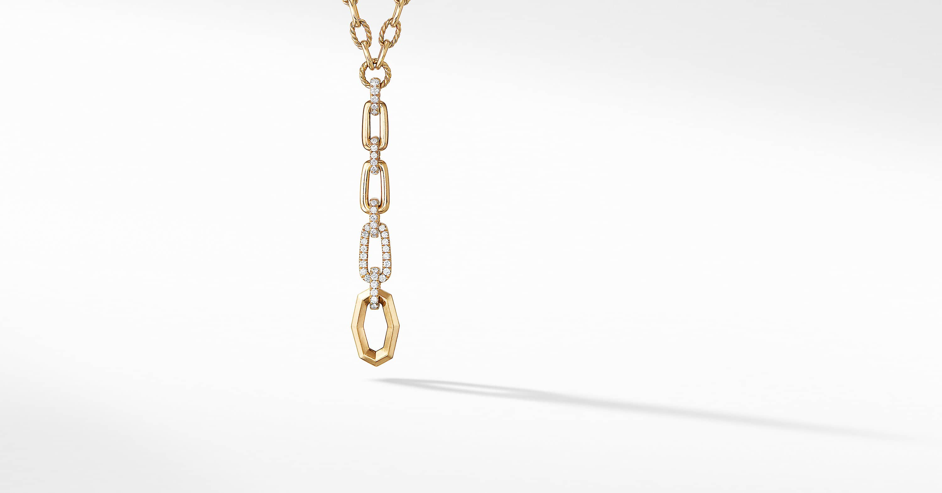 Stax Chain Link Y Necklace with Diamonds in 18K Gold