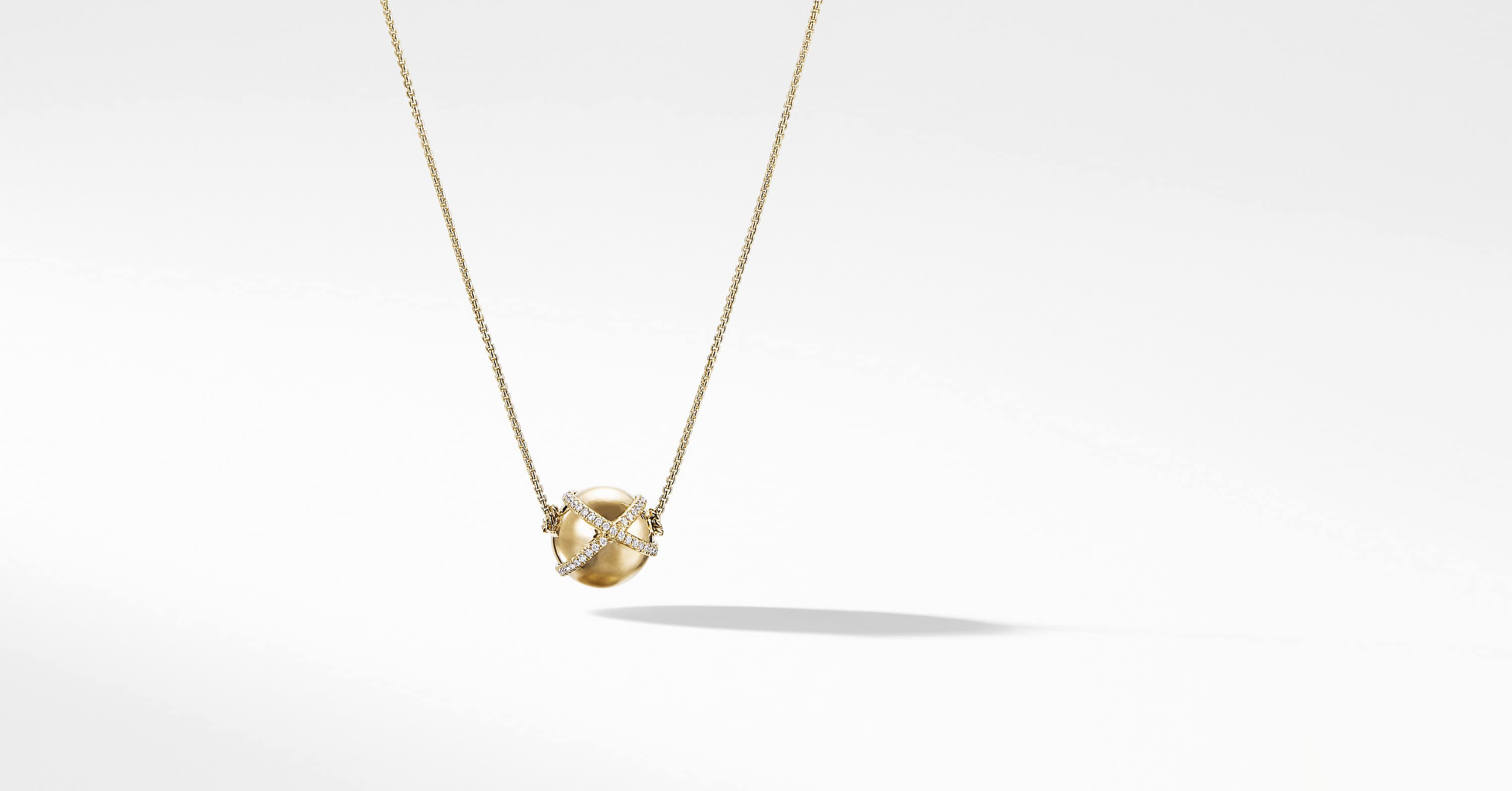 Solari Pave Wrap Pendant Necklace with Diamonds in 18K Gold, 12mm