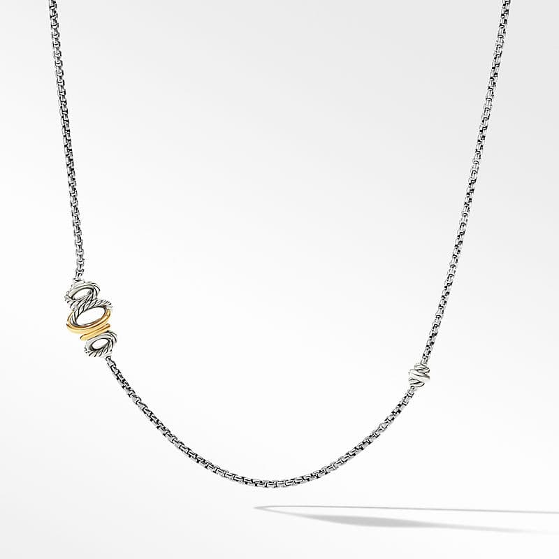 Crossover Station Box Chain Necklace with 18K Yellow Gold