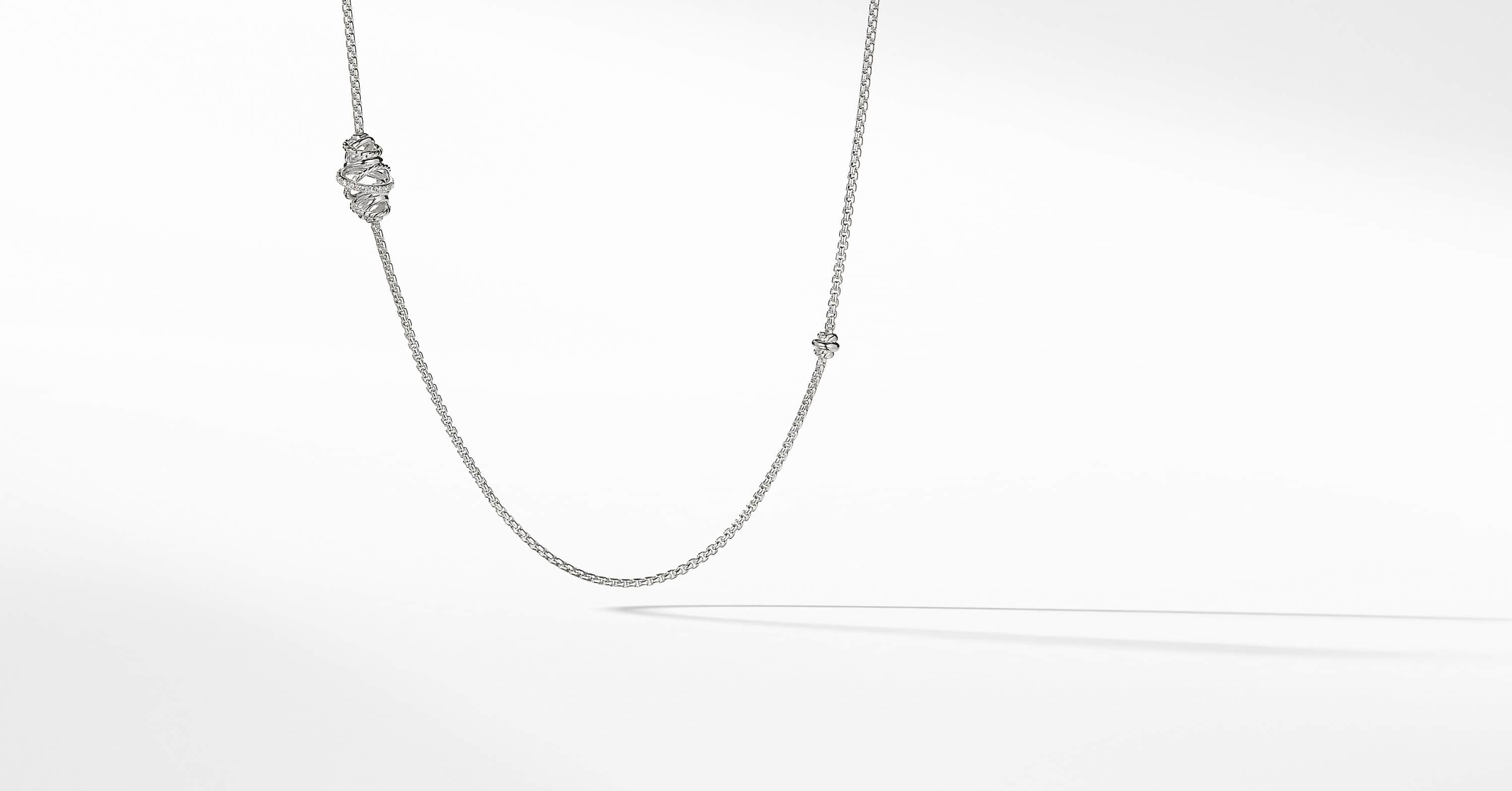The Crossover Collection Station Necklace with Diamonds