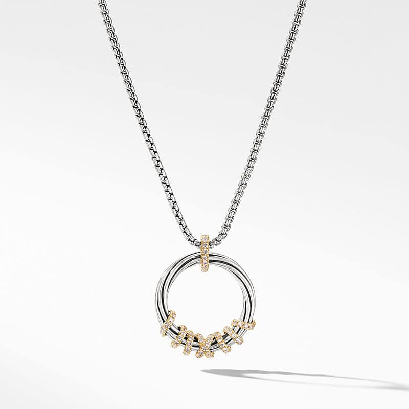 Helena Medium Pendant Necklace with Diamonds and 18K Gold, 21mm