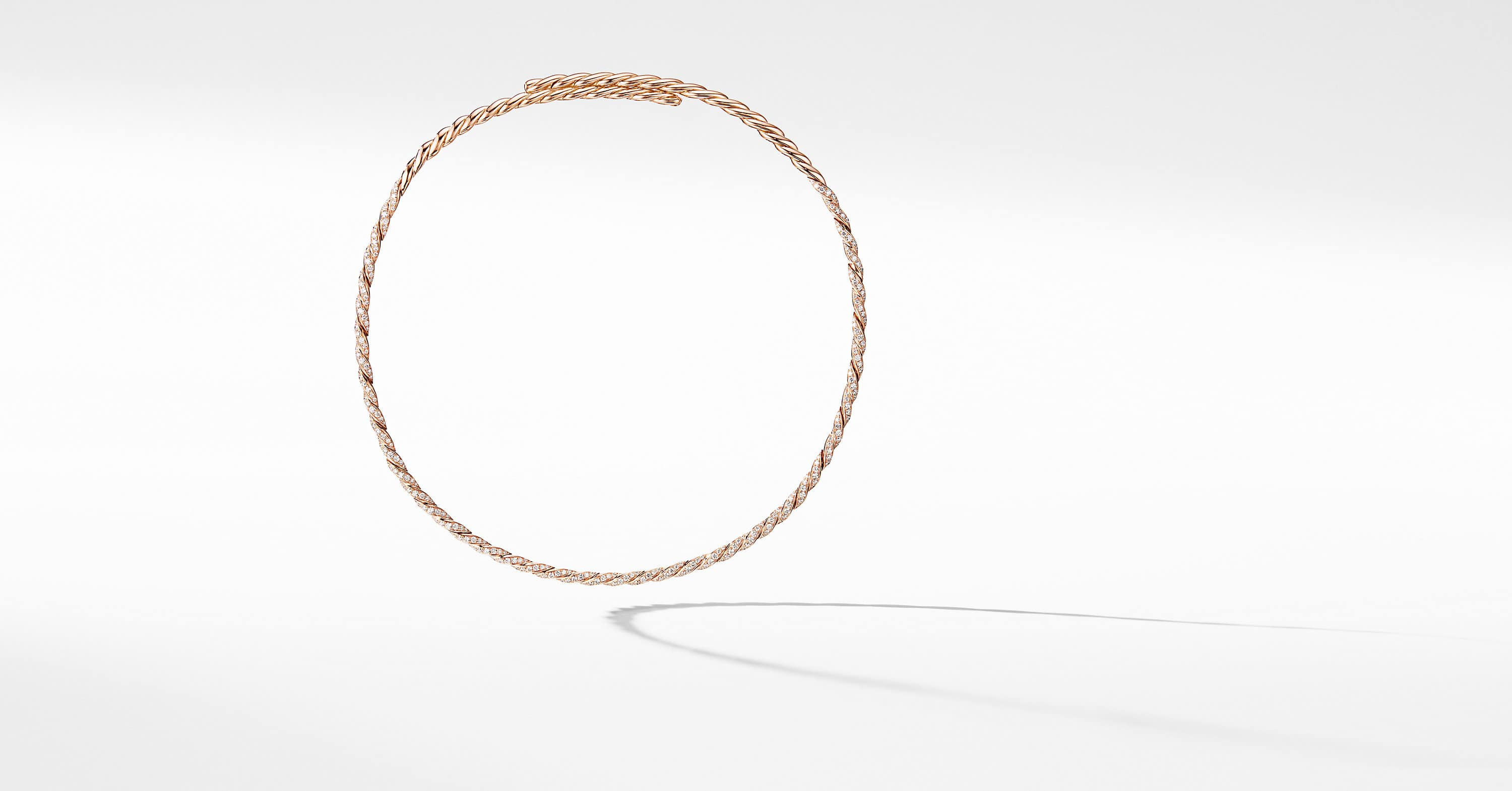 Pavéflex Single Row Necklace with Diamonds in 18K Rose Gold