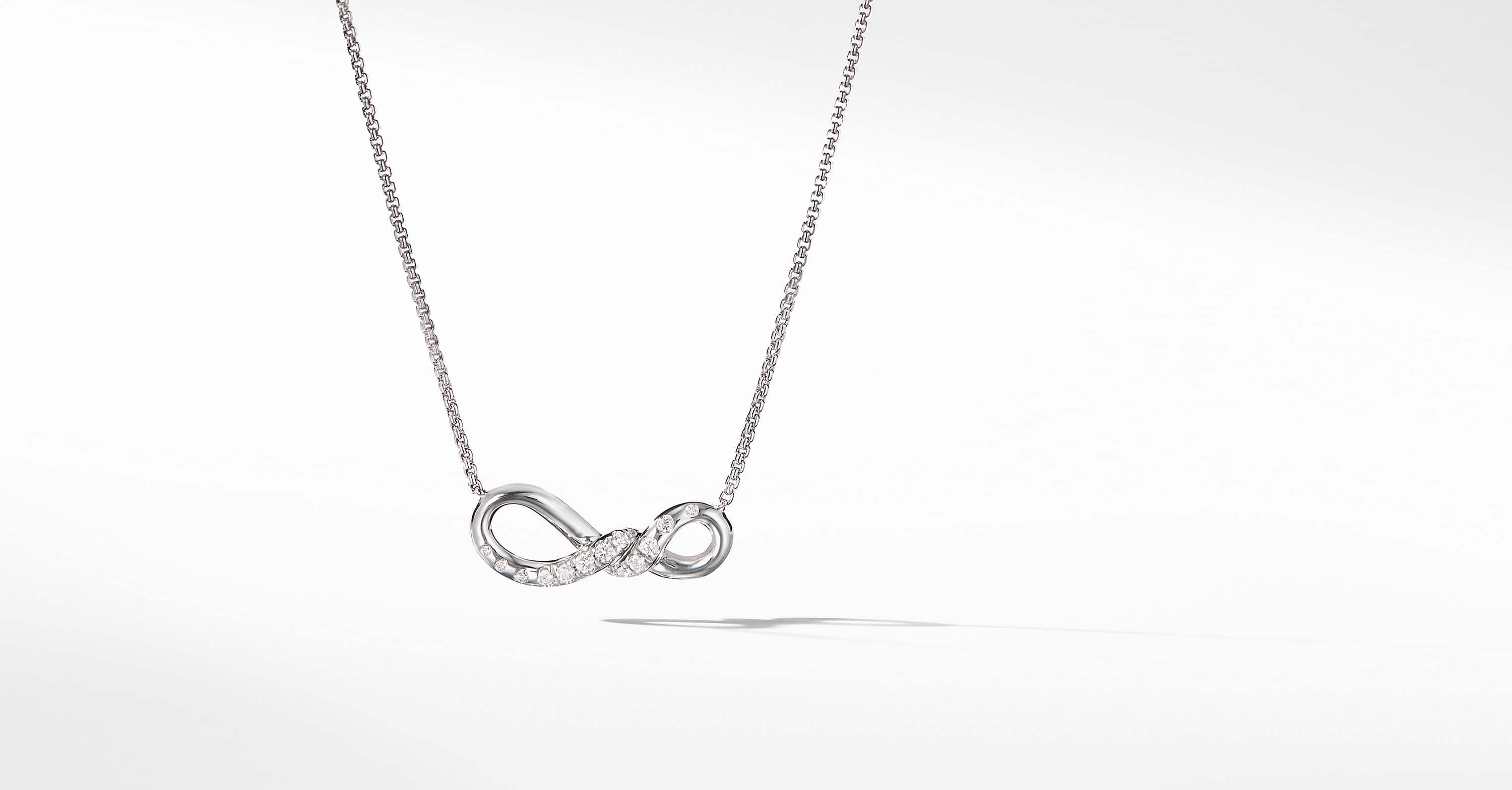 Continuance Small Pendant Necklace with Diamonds in 18K White Gold