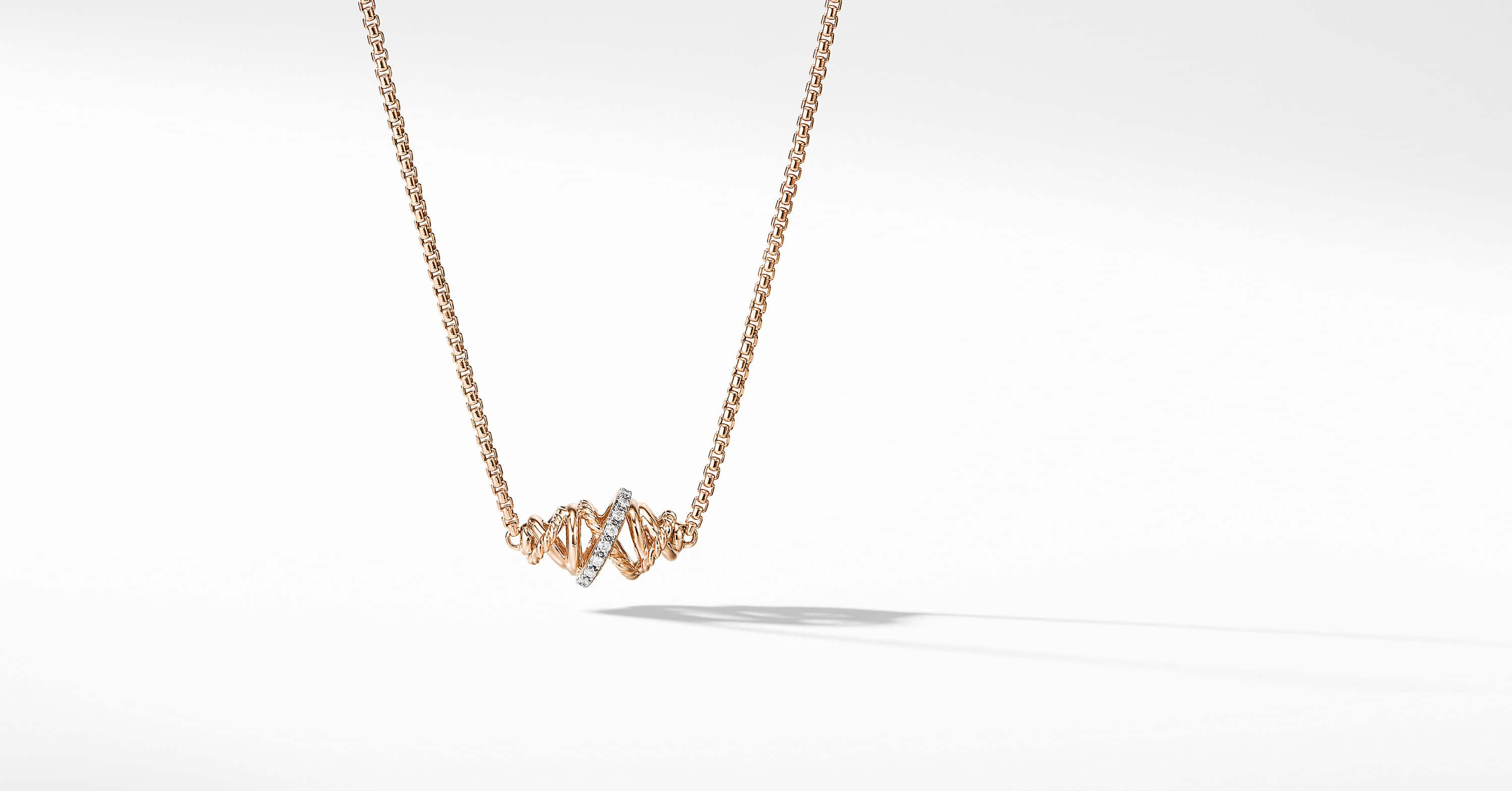 Crossover Single Station Necklace  with Diamonds  in 18K Rose Gold