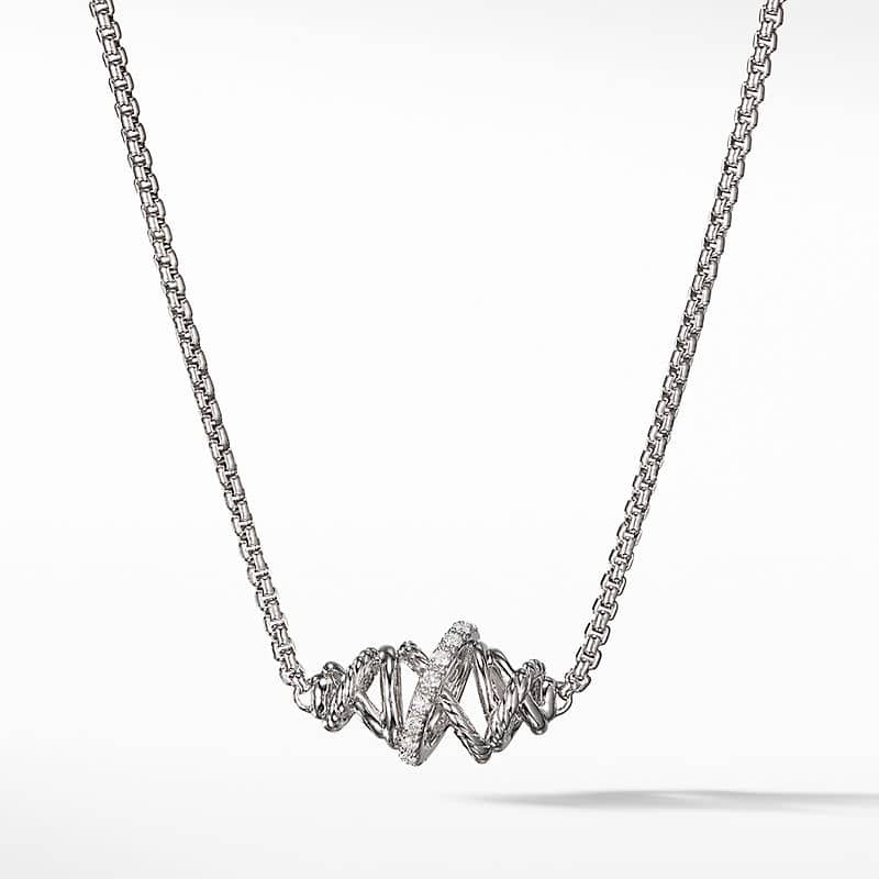 The Crossover Collection Single Station Necklace with Diamonds