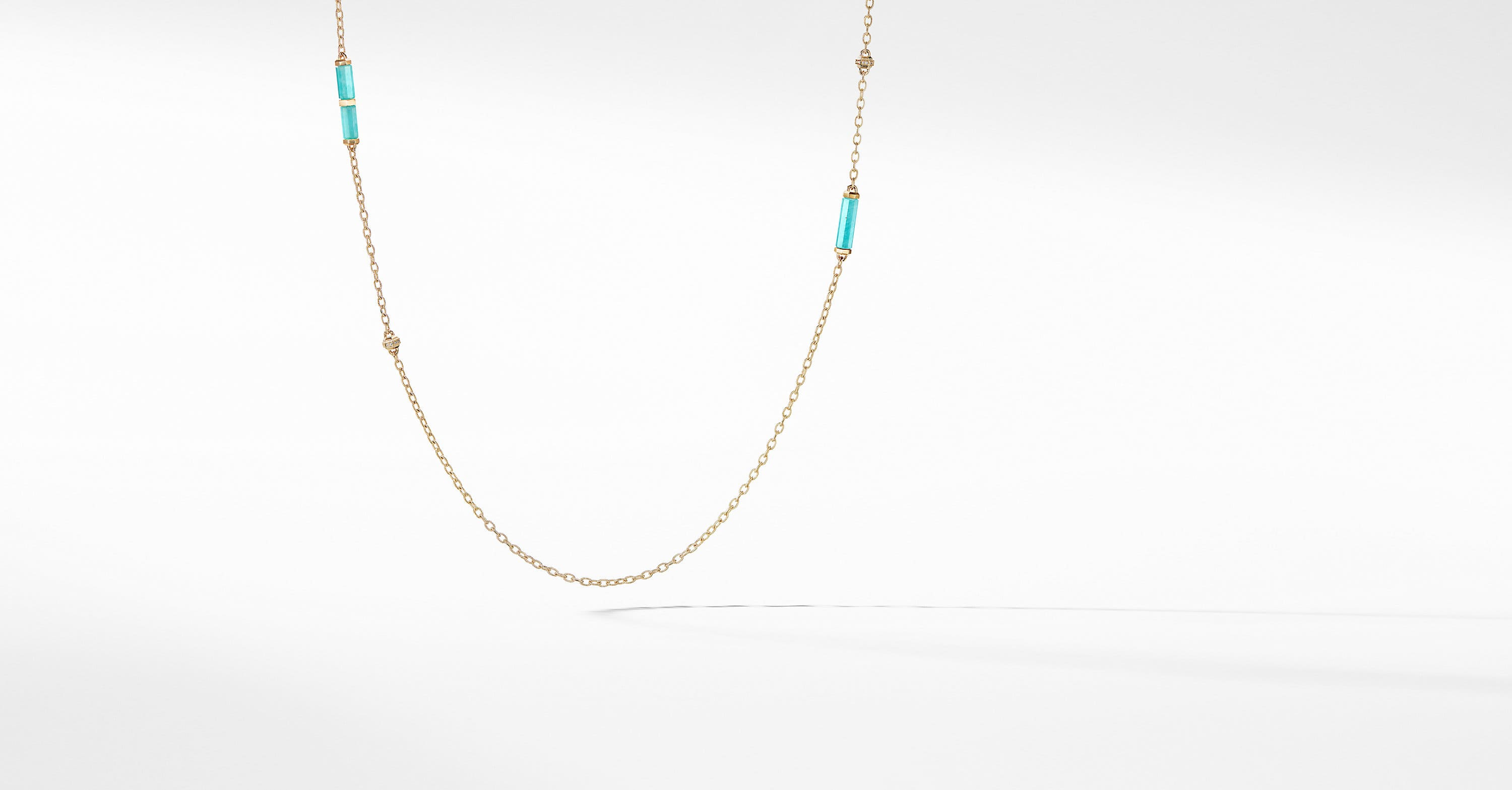 Barrels Long Station Necklace with Diamonds in 18K Gold
