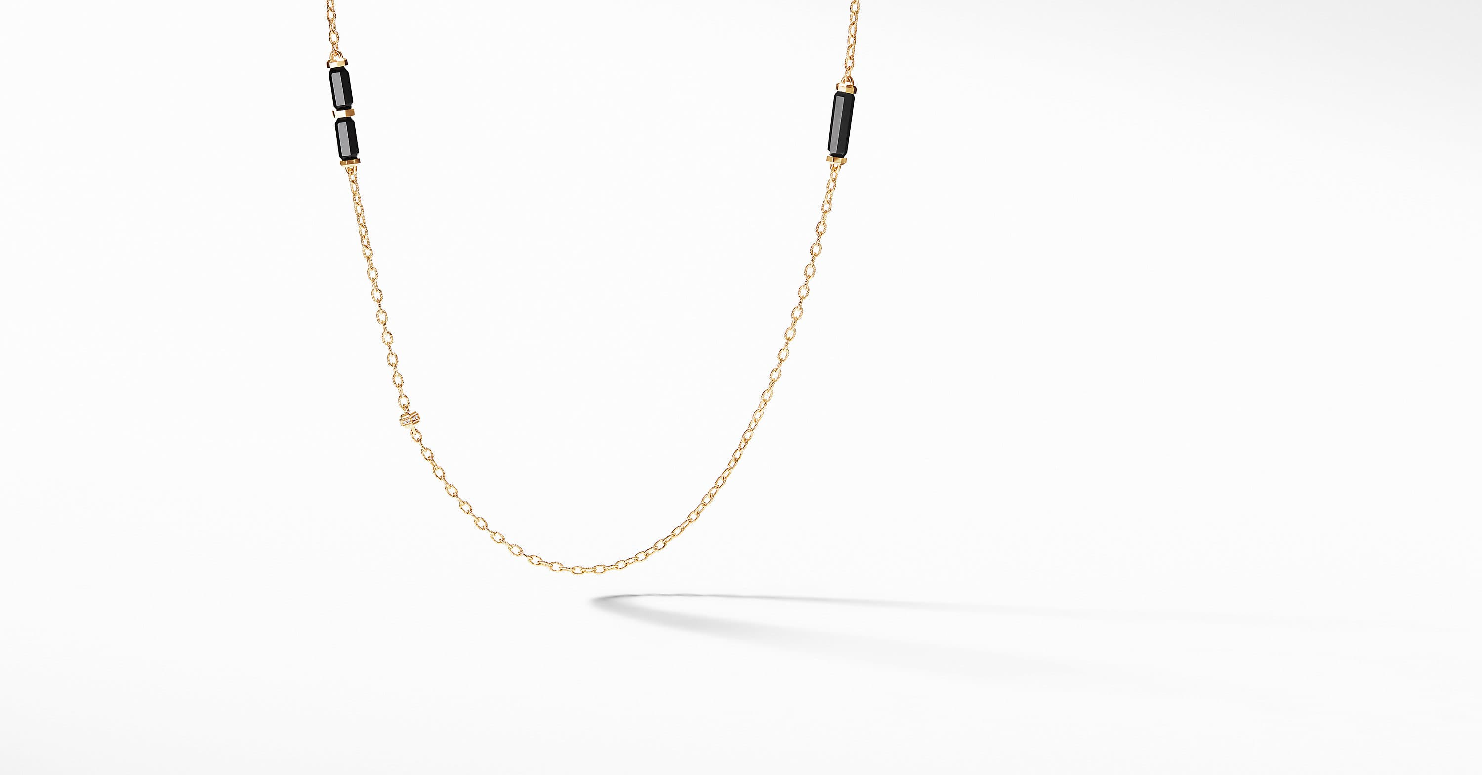 b2a143ee804e2 Barrels Long Station Necklace with Diamonds in 18K Gold | David Yurman