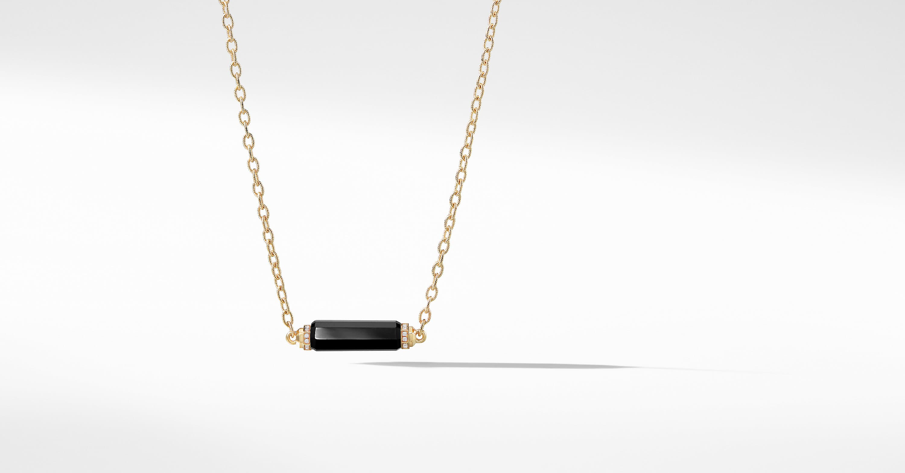 Barrels Single Station Necklace with Diamonds in 18K Gold
