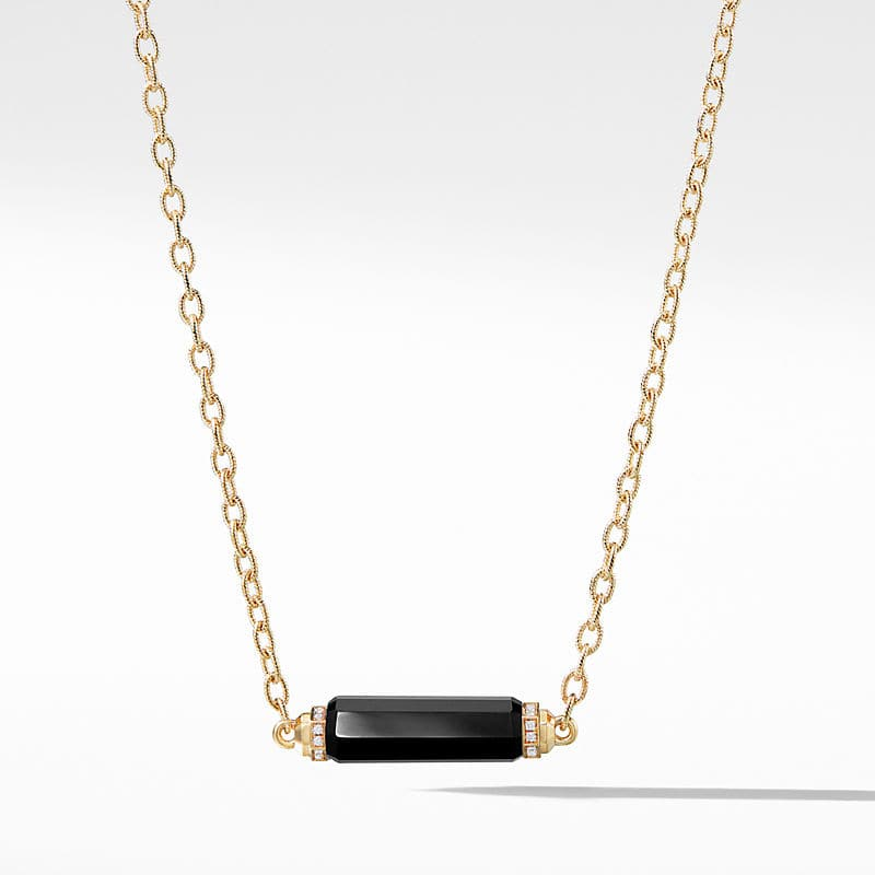 Barrels Single Station Necklace with Black Onyx and