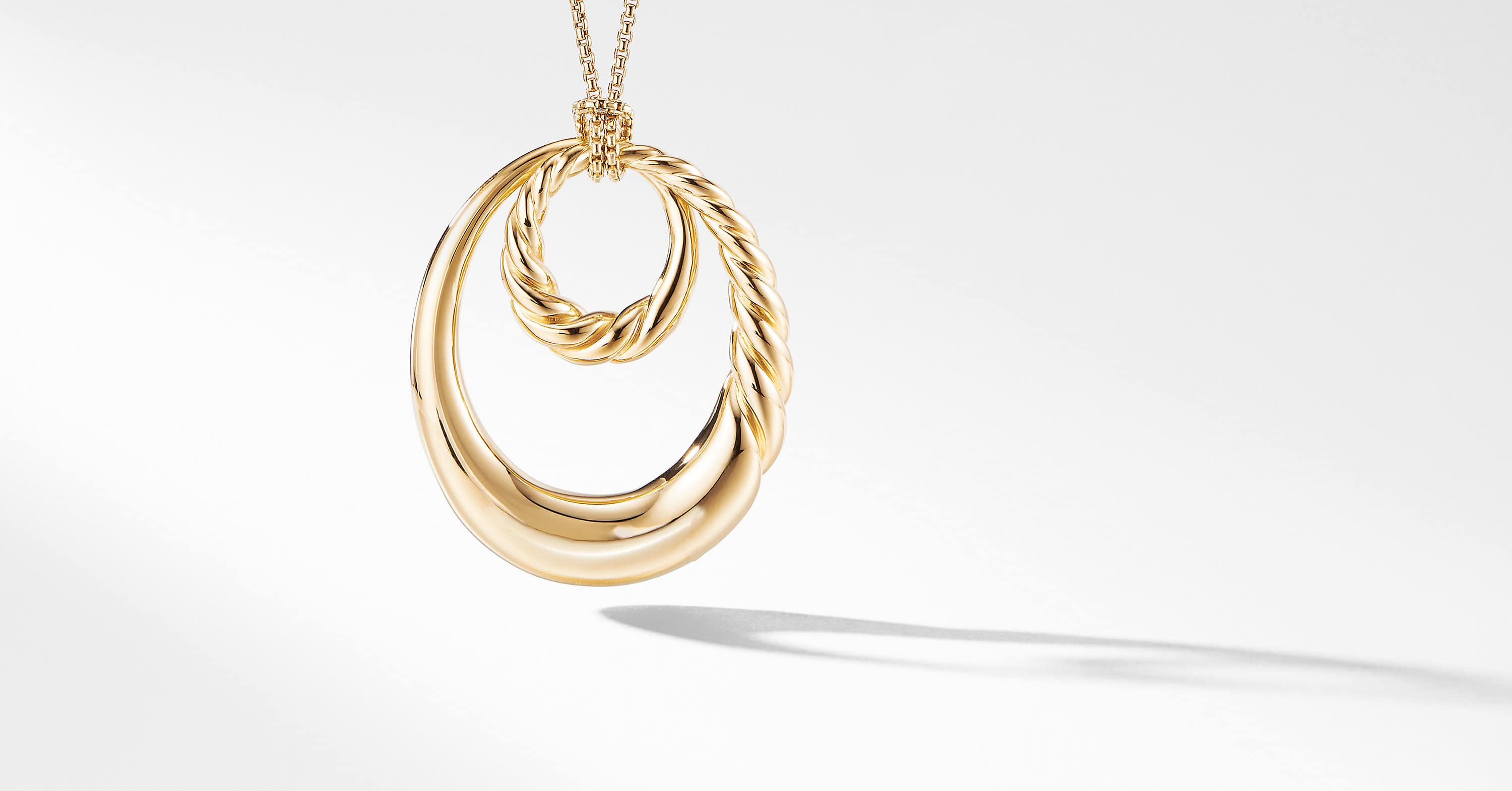 Pure Form Pendant Necklace in 18K Yellow Gold, 52mm