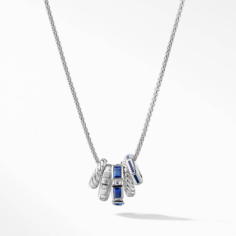 Stax Pendant Necklace with Diamonds in 18K White Gold