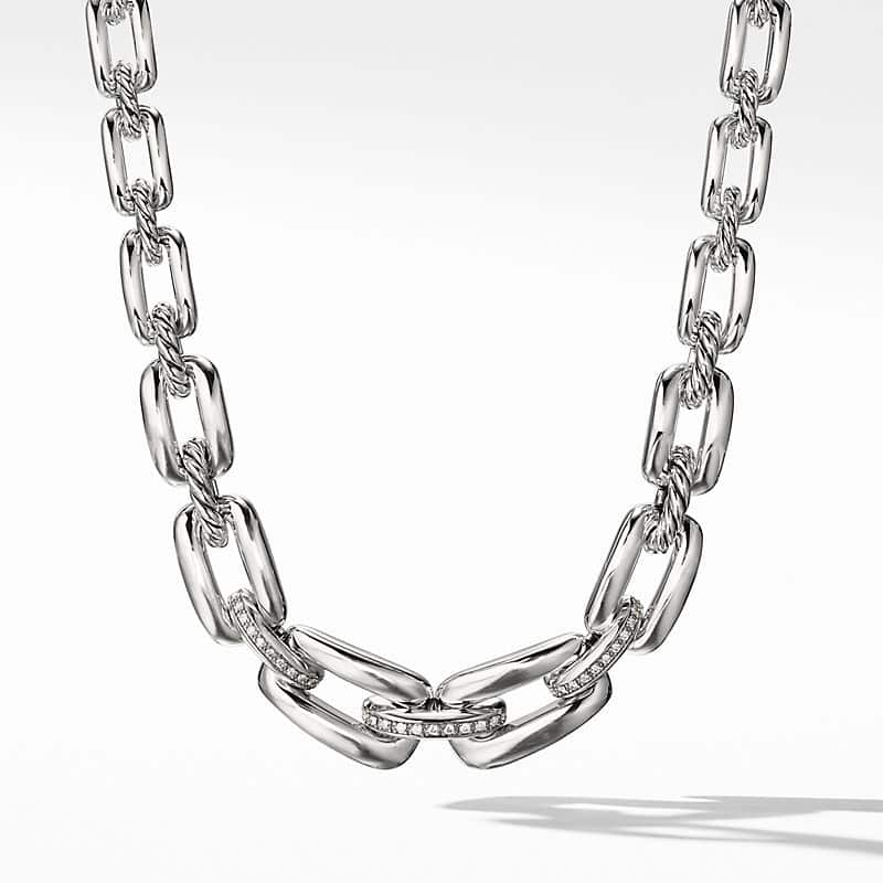 Wellesley Link Short Chain Necklace with Diamonds
