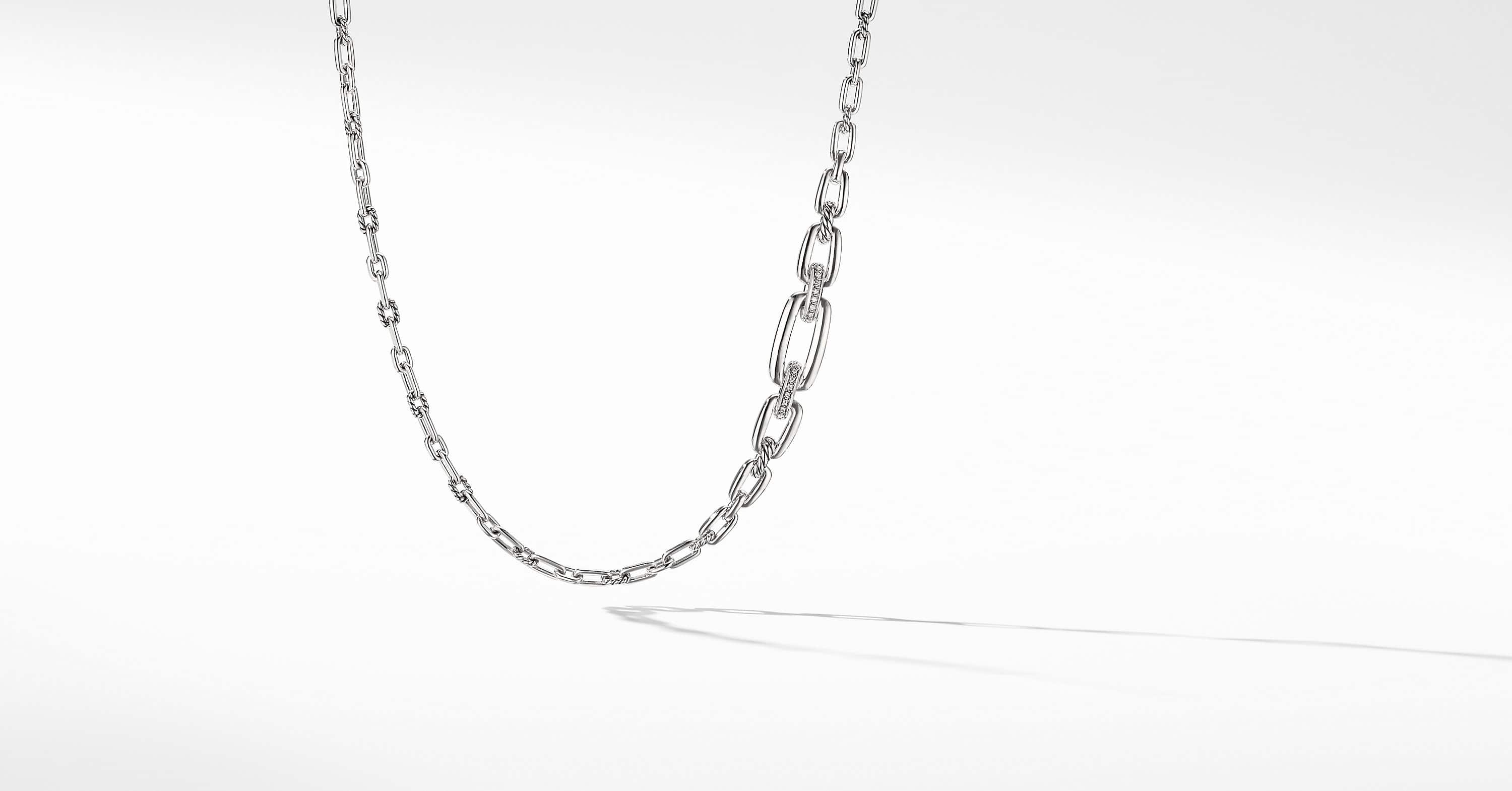 Wellesley Link Chain Necklace with Diamonds