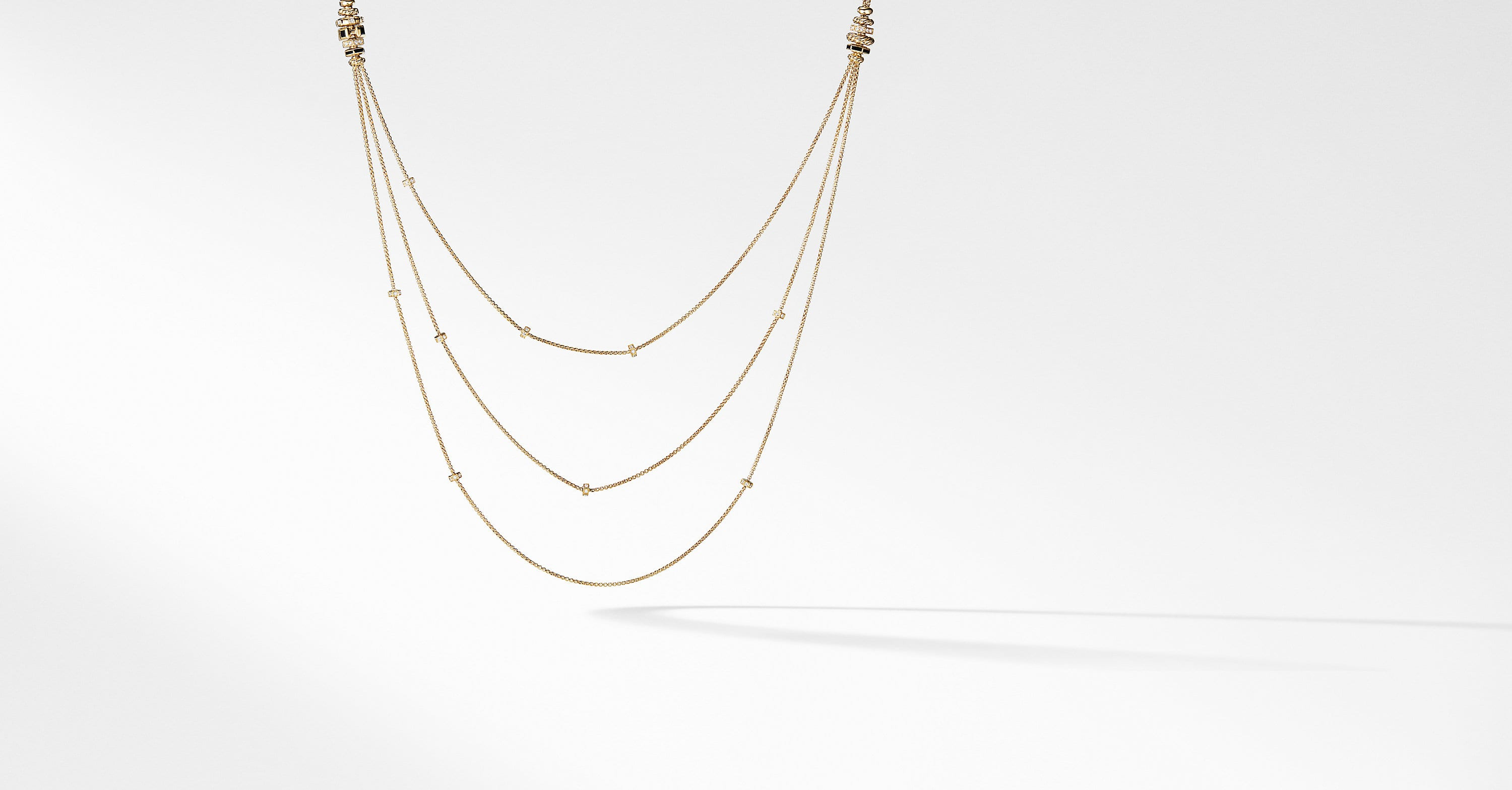 Stax Chain Necklace with Diamonds in 18K Gold