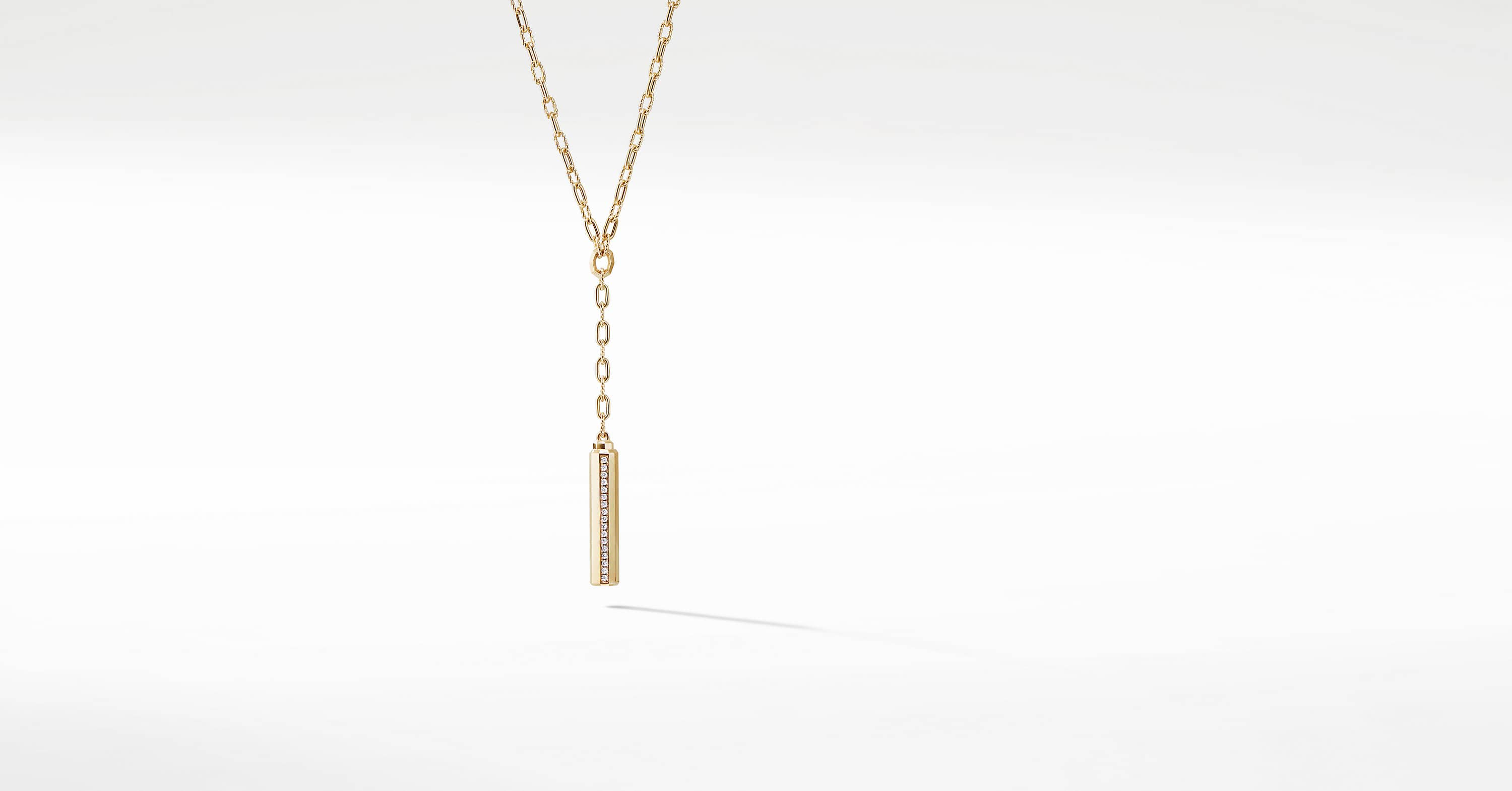 Barrels Y Necklace with Diamonds in 18K Gold