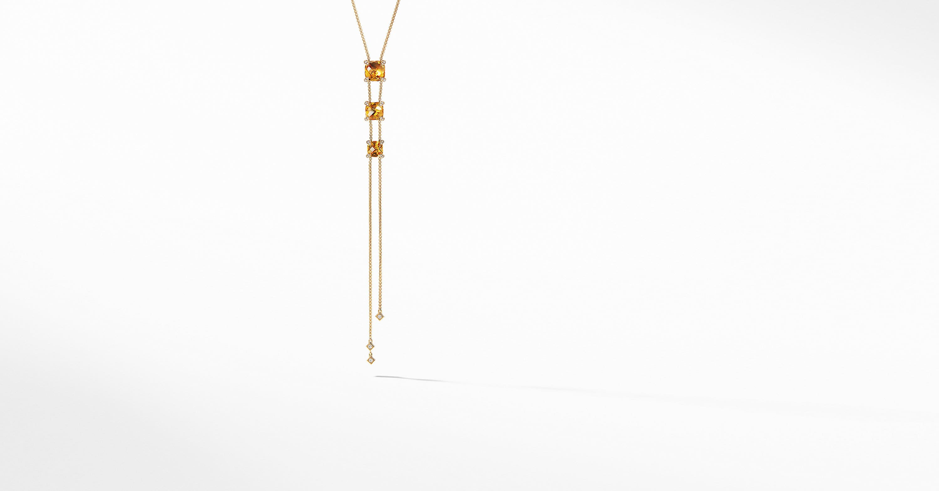 Chatelaine Y Necklace with Diamonds in 18K Gold