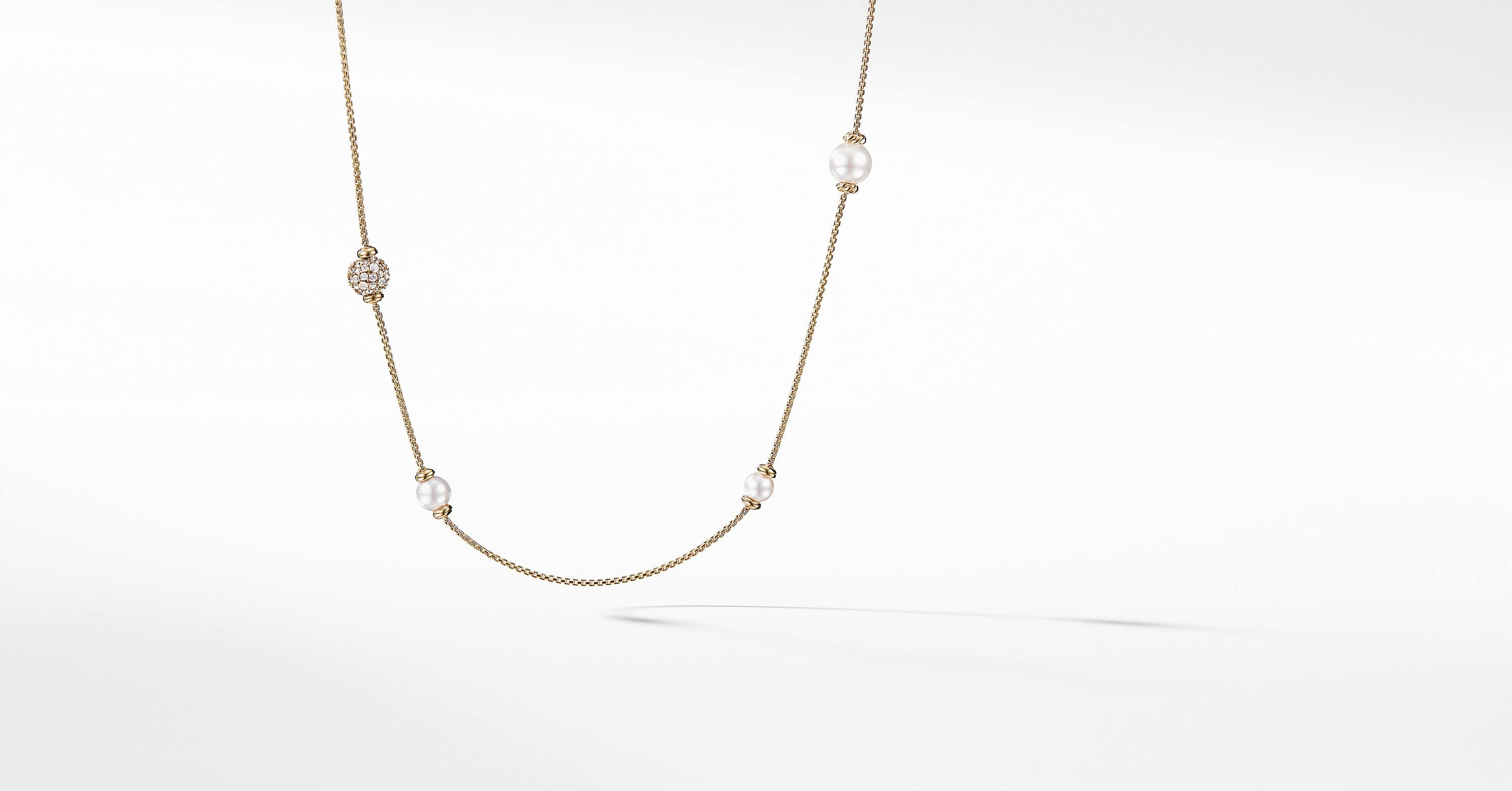 Solari Long Station Necklace with Pearls and Diamonds in 18K Yellow Gold