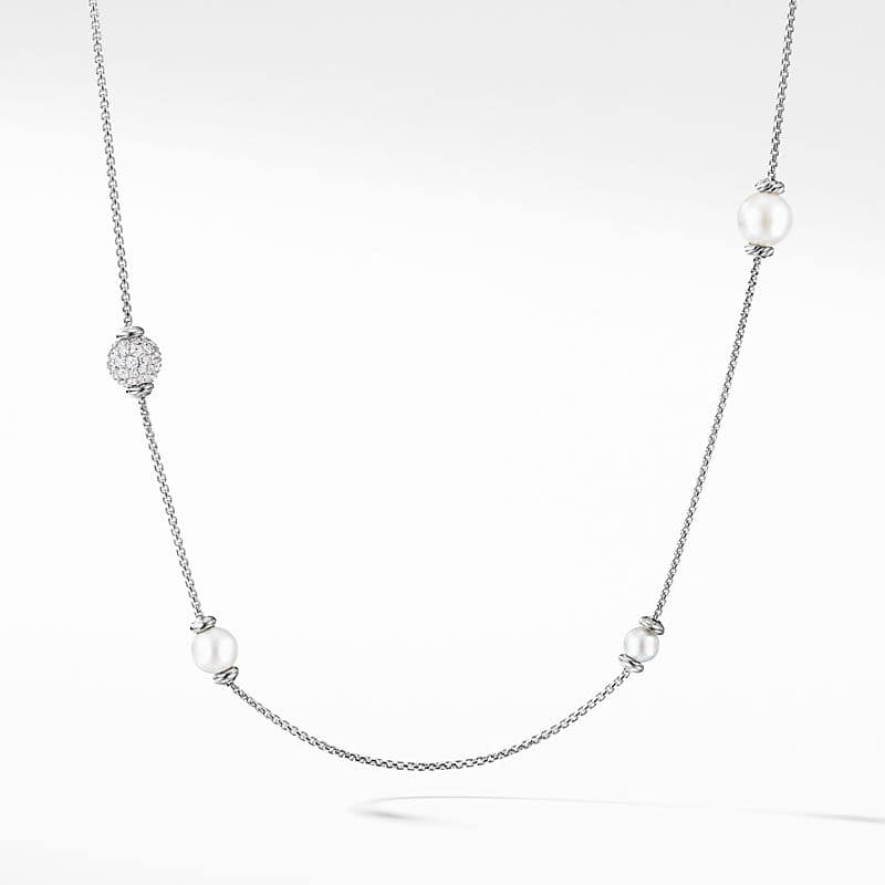 Solari Long Station Necklace with Pearls and Diamonds in 18K Gold