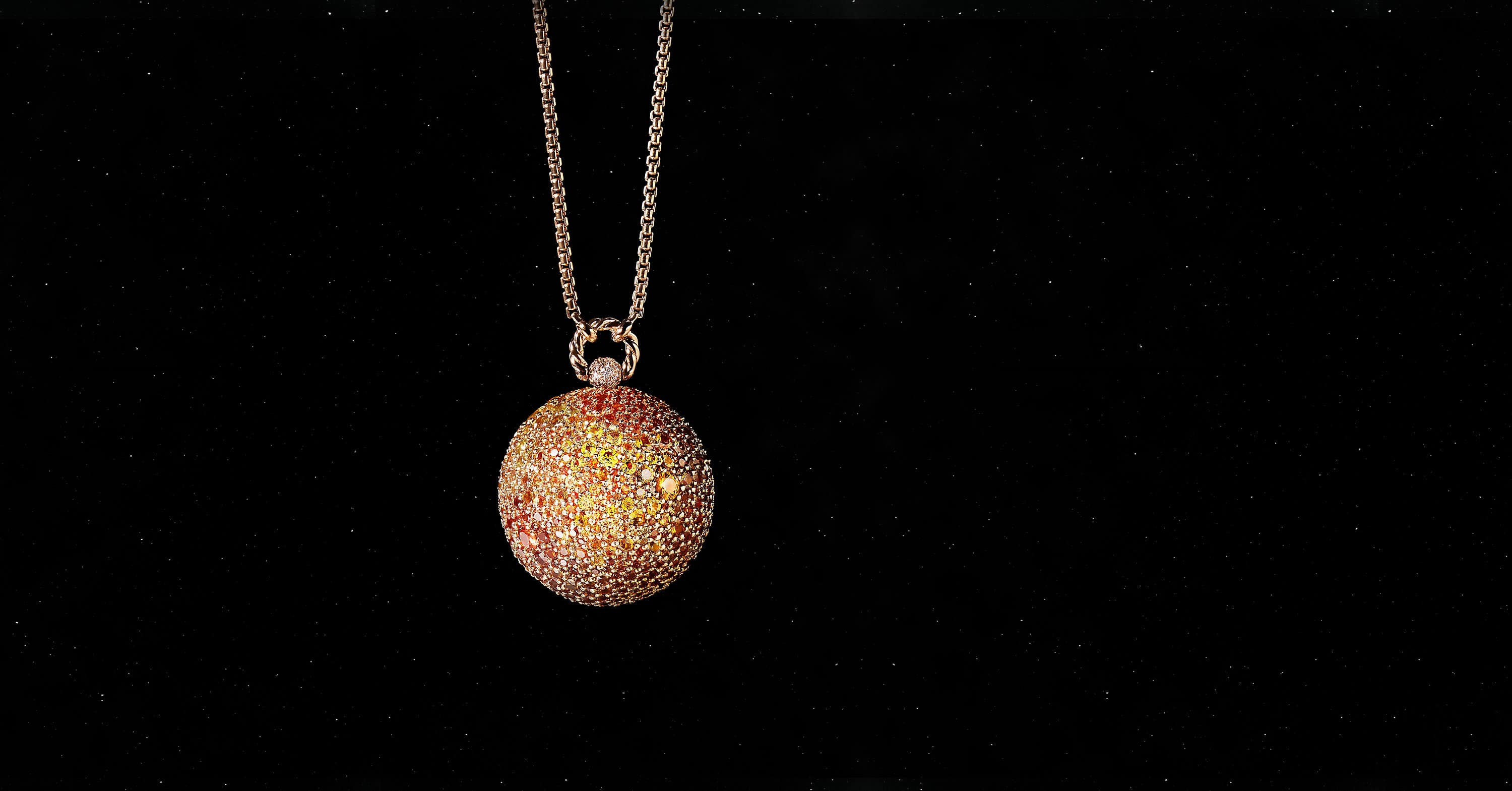 Solari Sun Pendant in 18K Rose Gold with Pavé