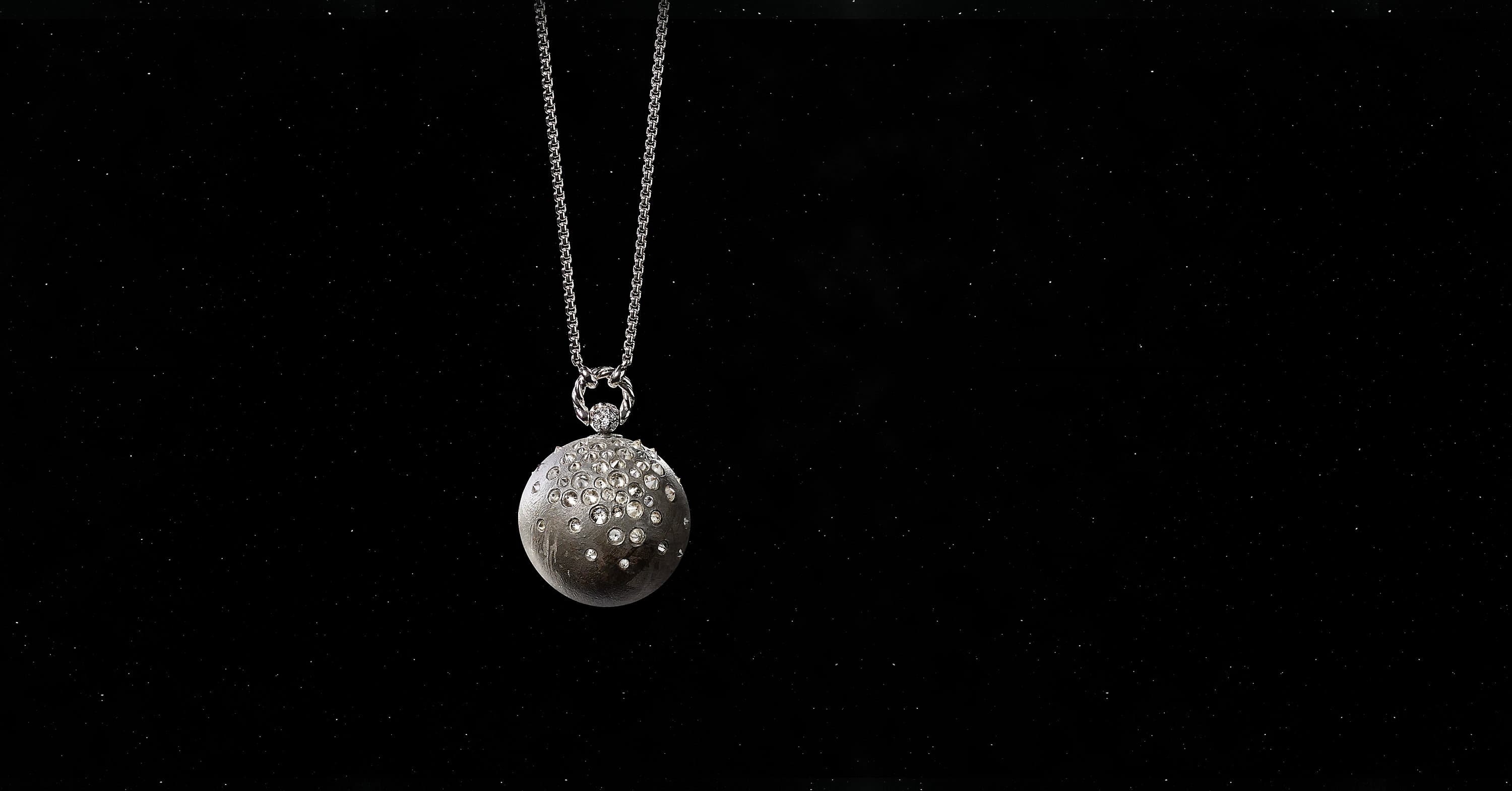 Solari Mercury Pendant in 18K White Gold with Pavé