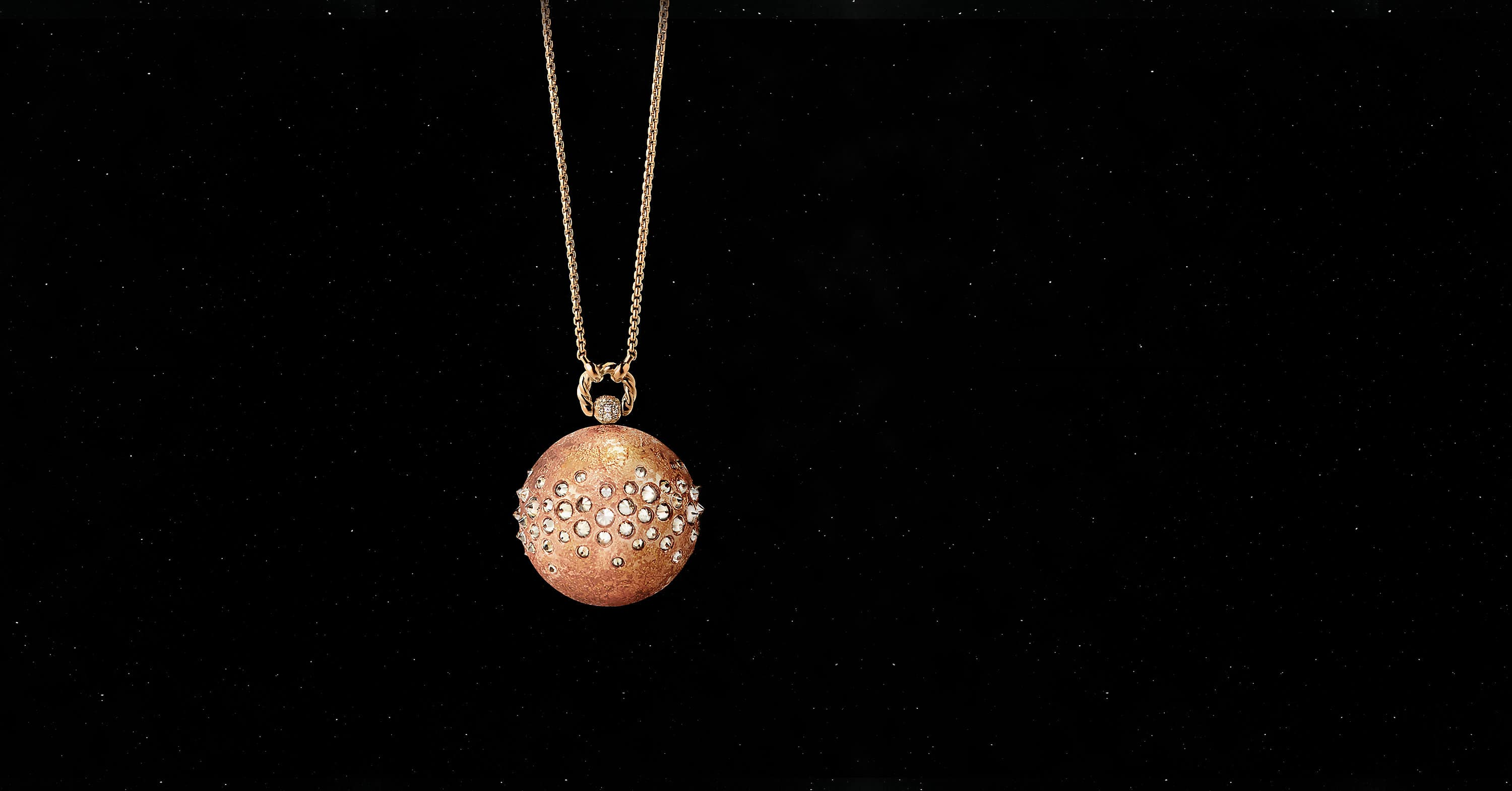 Solari Mars Pendant Necklace in 18K Rose Gold with Pavé