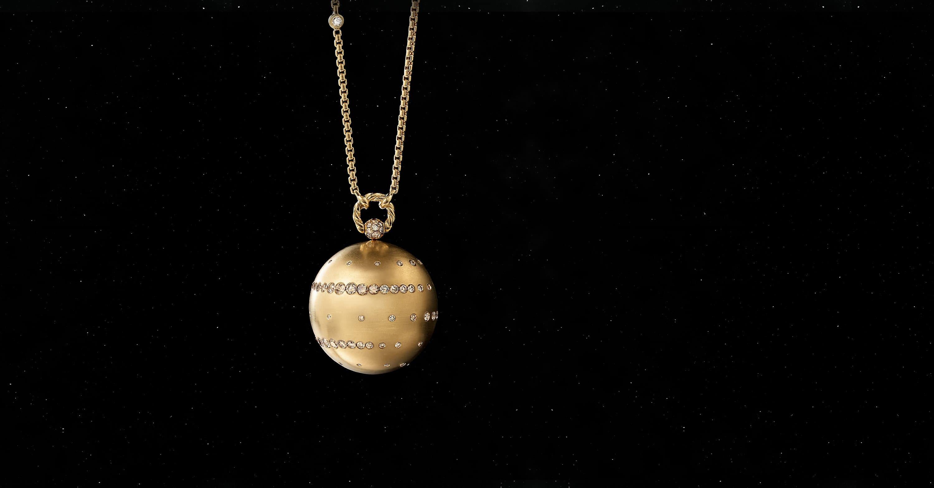 Solari Jupiter Pendant Necklace in 18K Yellow Gold with Pavé