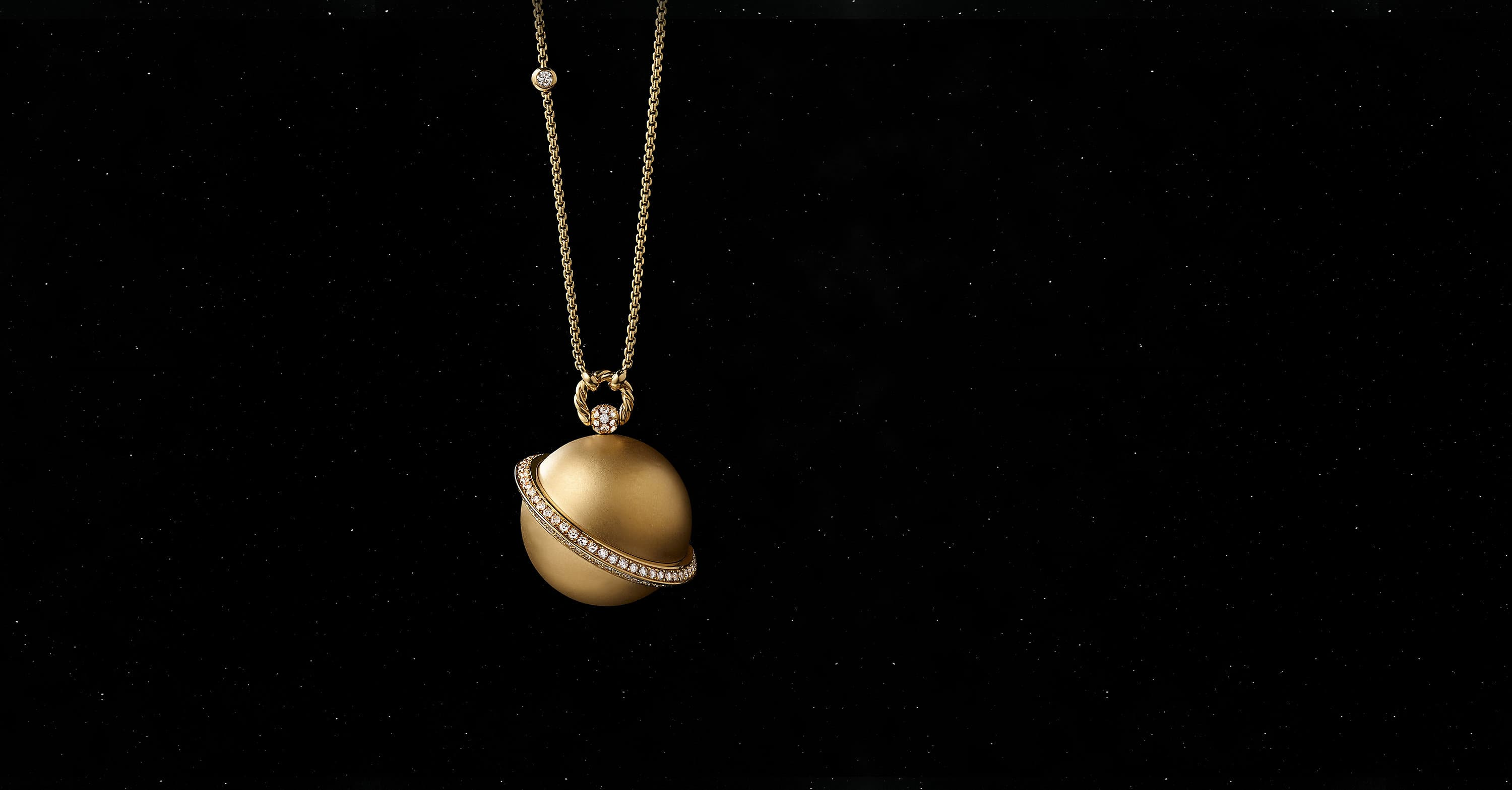 Solari Saturn Pendant Necklace in 18K Yellow Gold with Pavé
