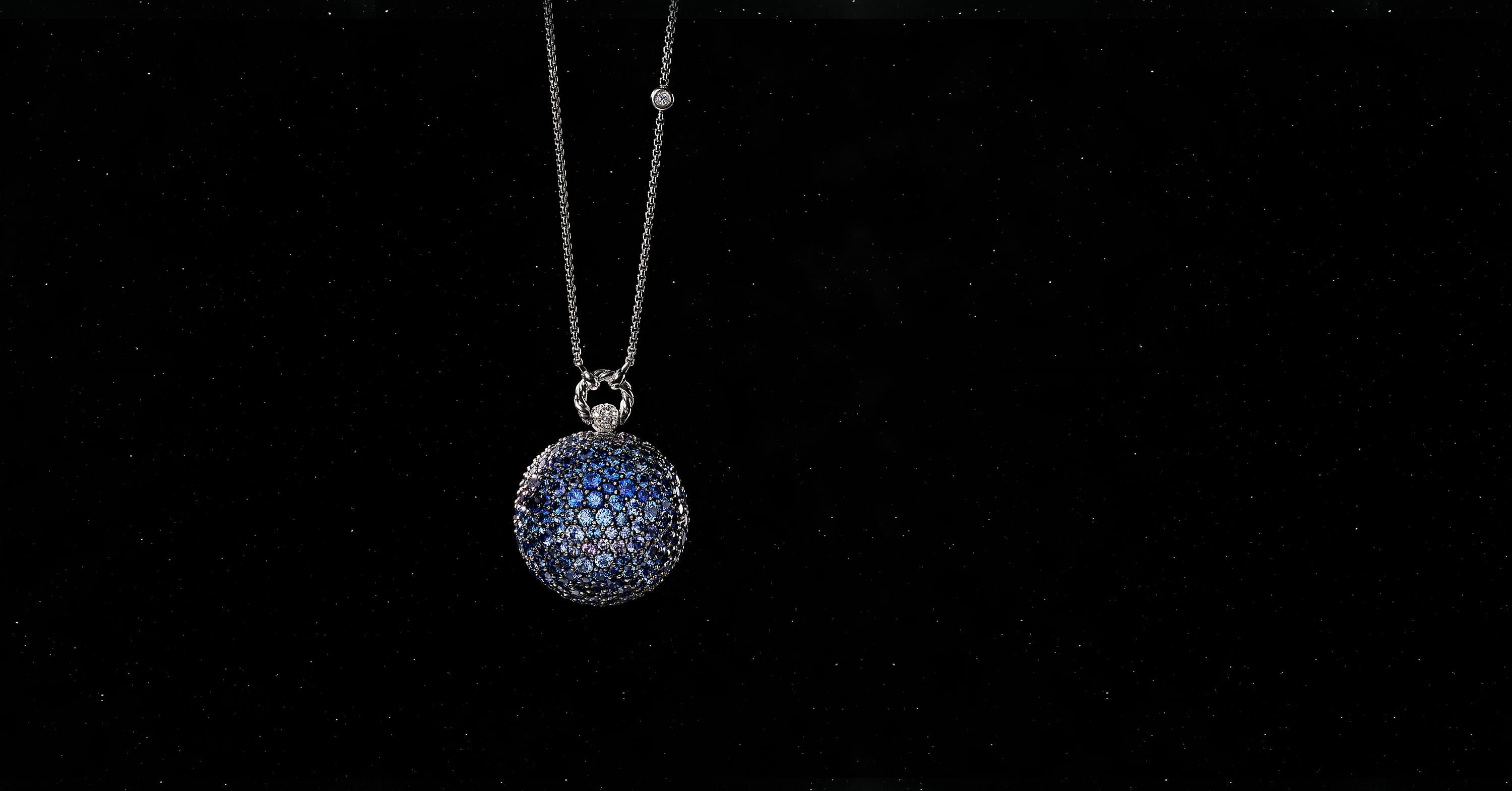 Solari Neptune Pendant Necklace in 18K White Gold with Pavé