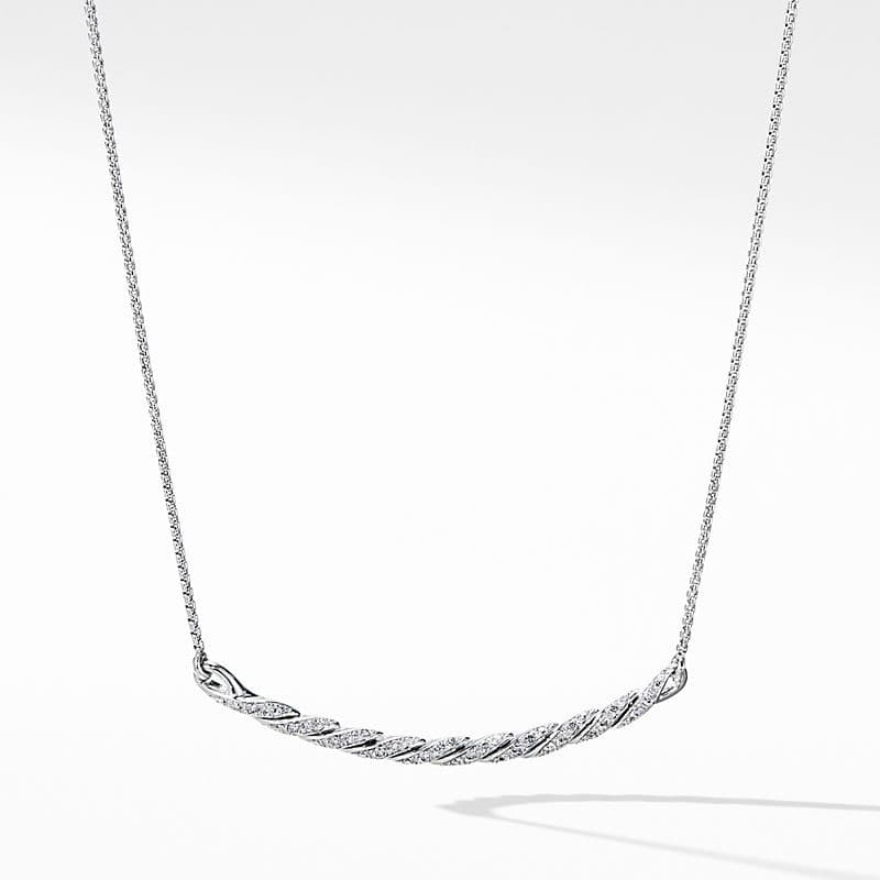 Pavéflex Station Necklace with Diamonds in 18K White Gold