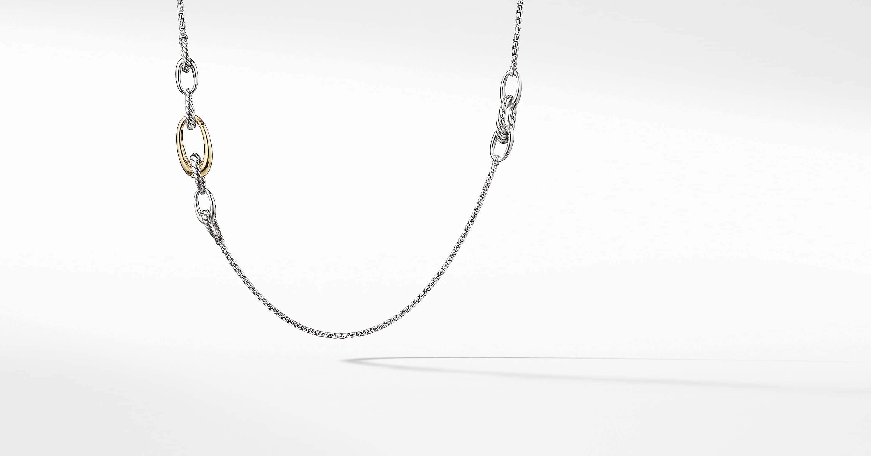 Pure Form Graduated Chain Necklace with 18K Yellow Gold