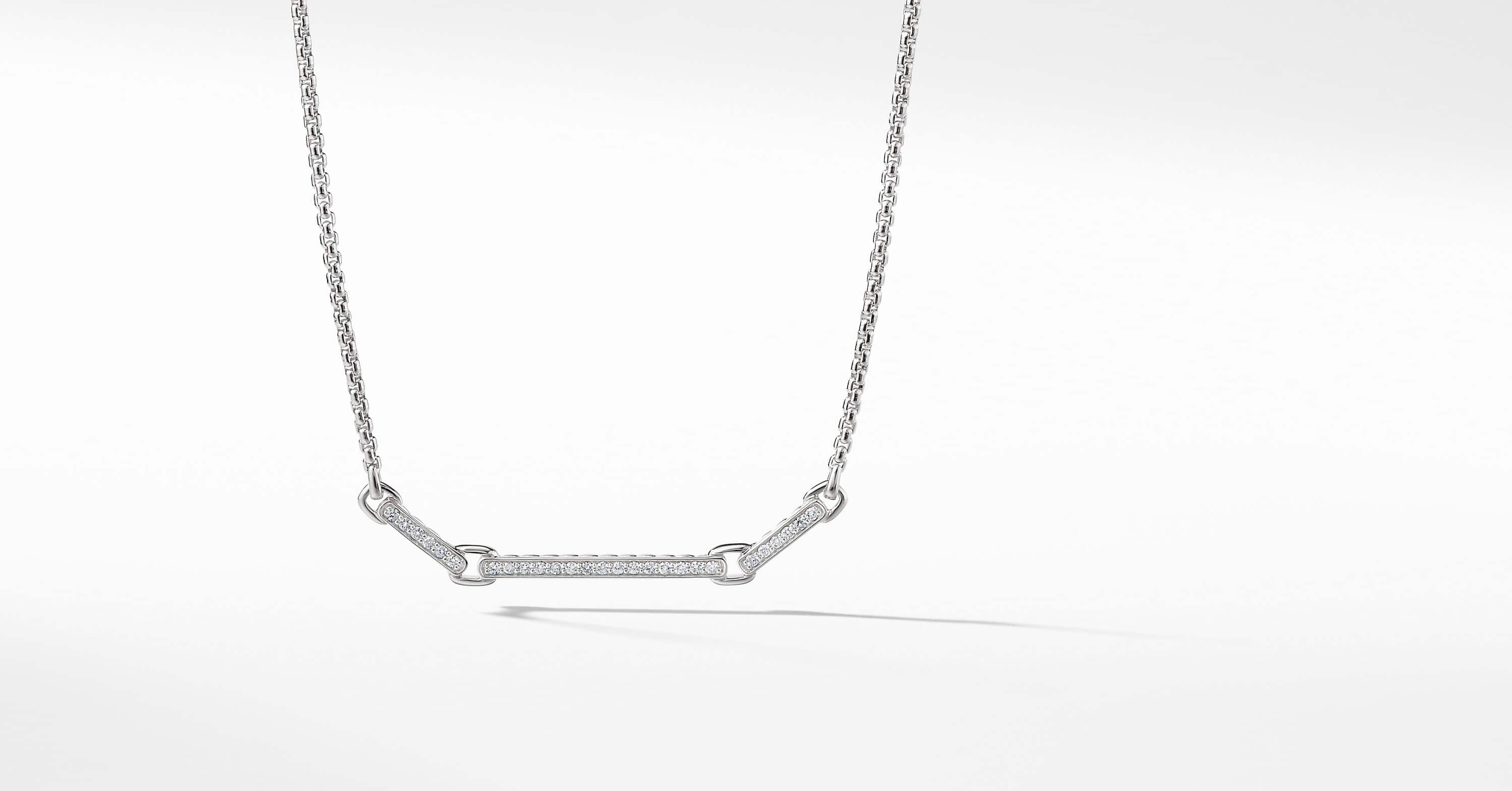 Petite Pavé Necklace with Diamonds in 18K White Gold